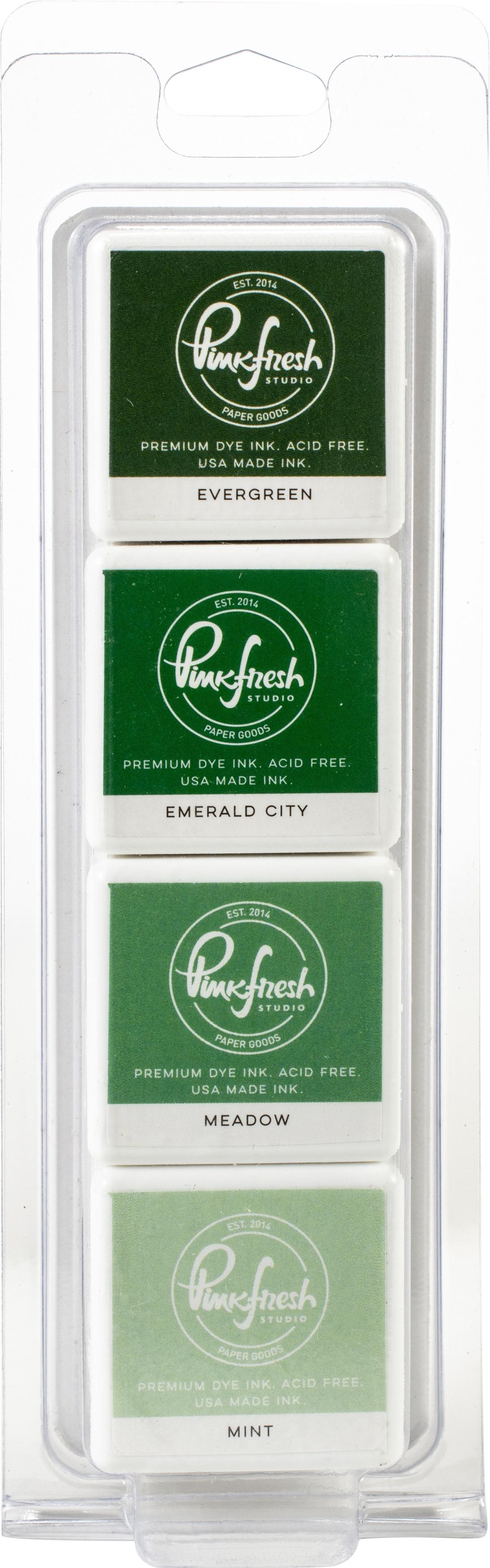 Pinkfresh Studio Premium Dye Cube Ink Pads 4 Colors-Garden Stroll