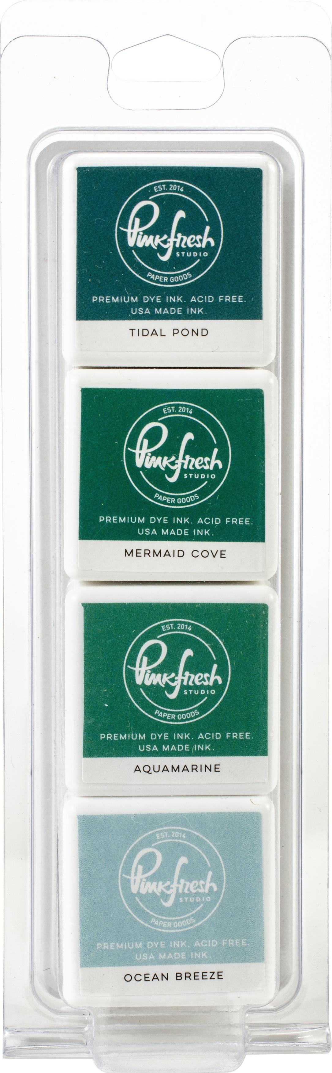 Pinkfresh Studio Premium Dye Cube Ink Pads 4 Colors-Island Oasis