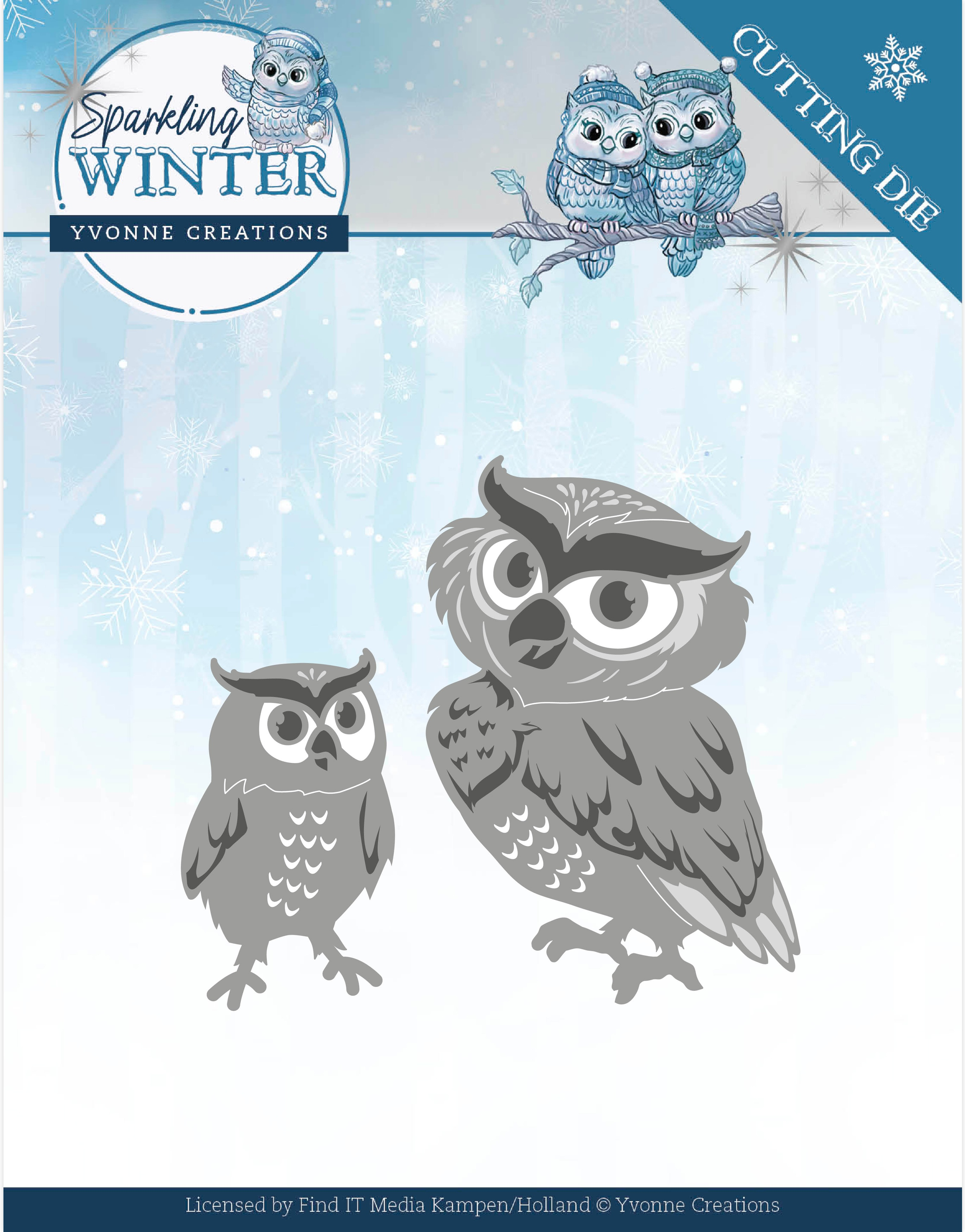 Find It Trading Yvonne Creations Die-Winter Owls, Sparkling Winter