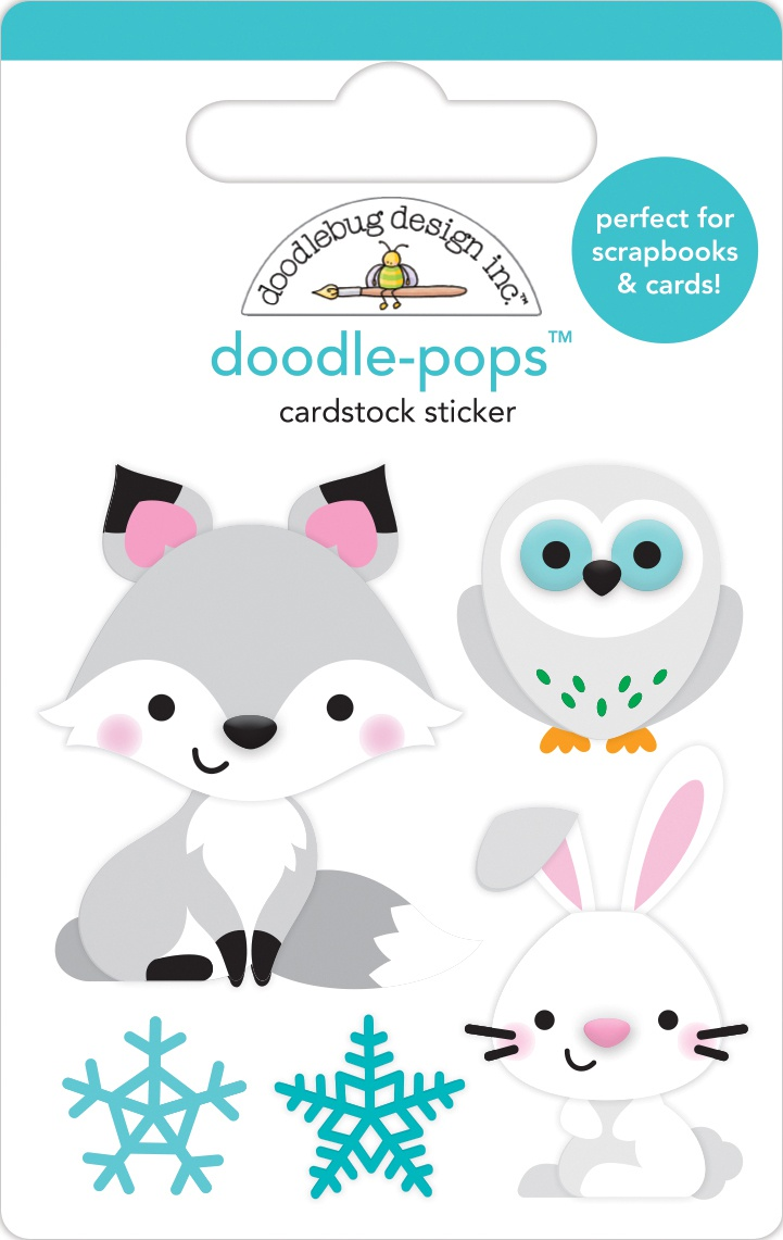 Doodlebug Doodle-Pops 3D Stickers-Foxy & Friends, Winter Wonderland