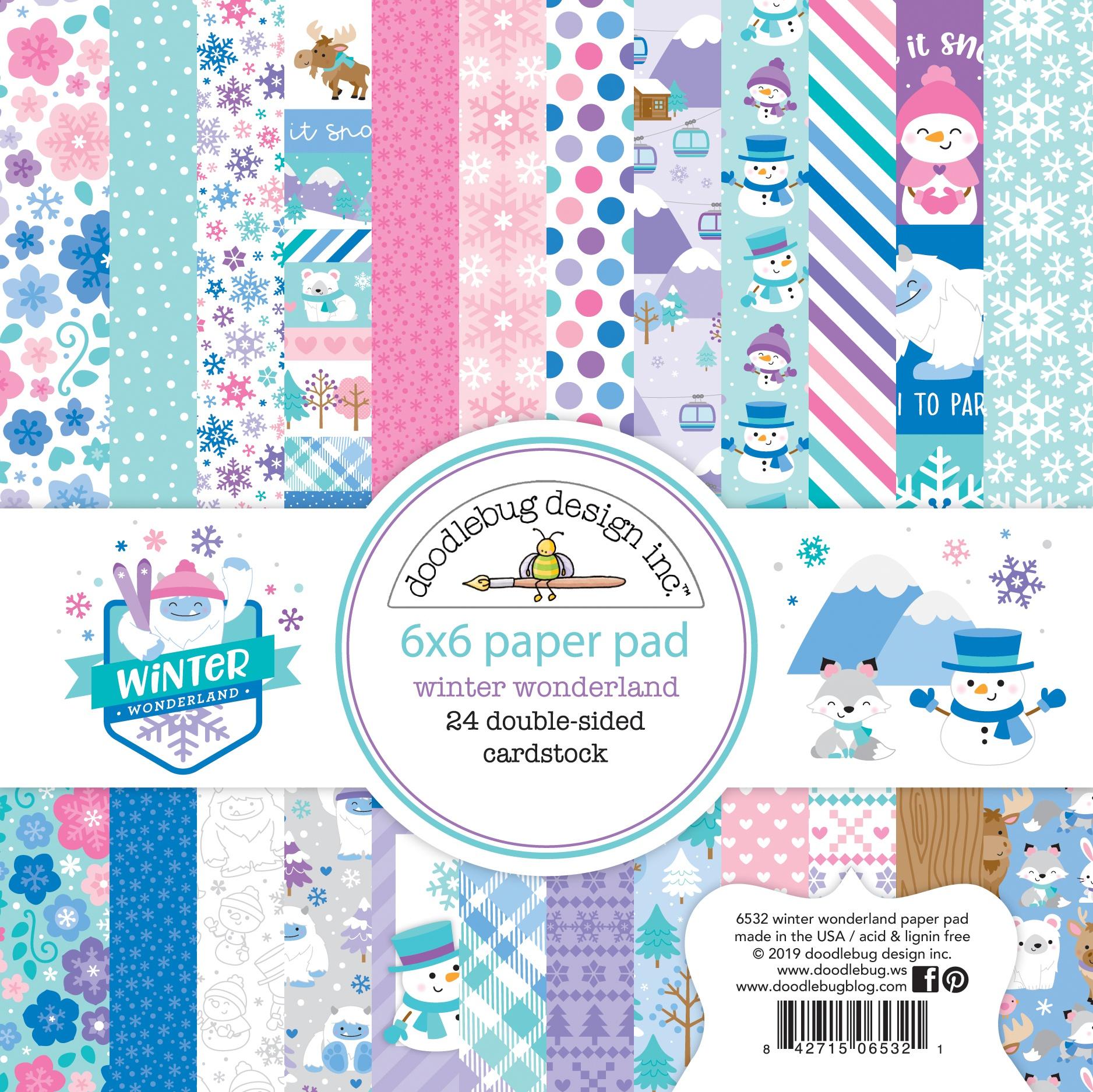 Doodlebug Double-Sided Paper Pad 6X6 24/Pkg-Winter Wonderland, 12 Designs/2 Ea...