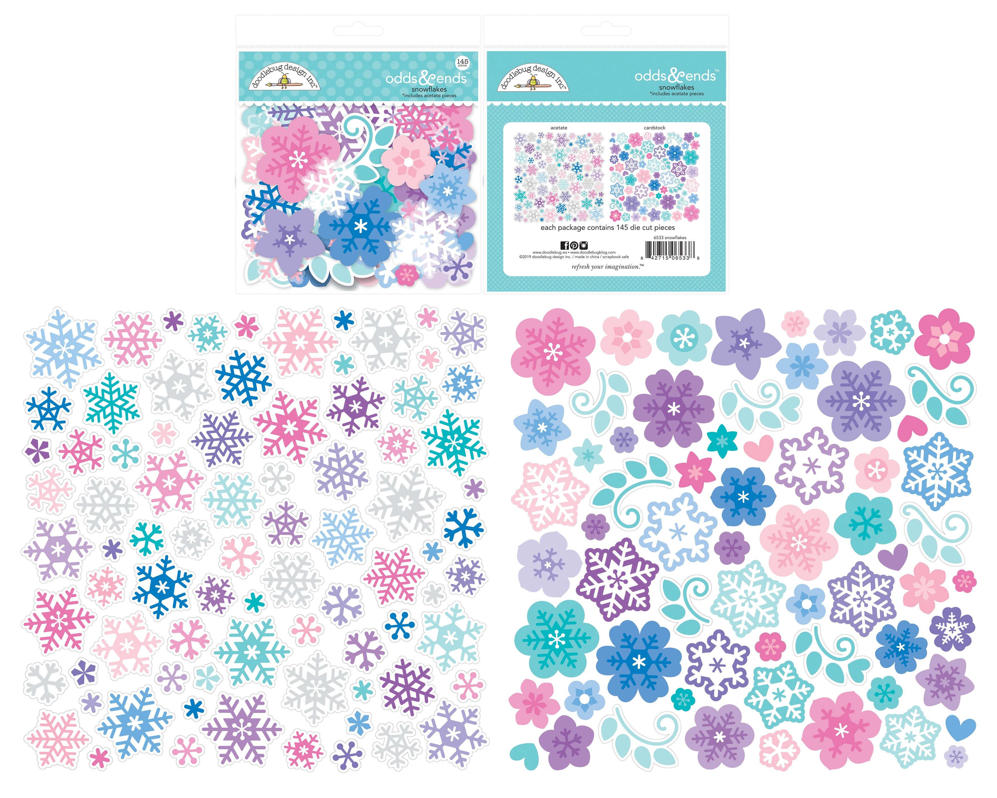 Doodlebug Odds & Ends Die-Cuts  -Winter Wonderland Snowflakes, 145/Pkg