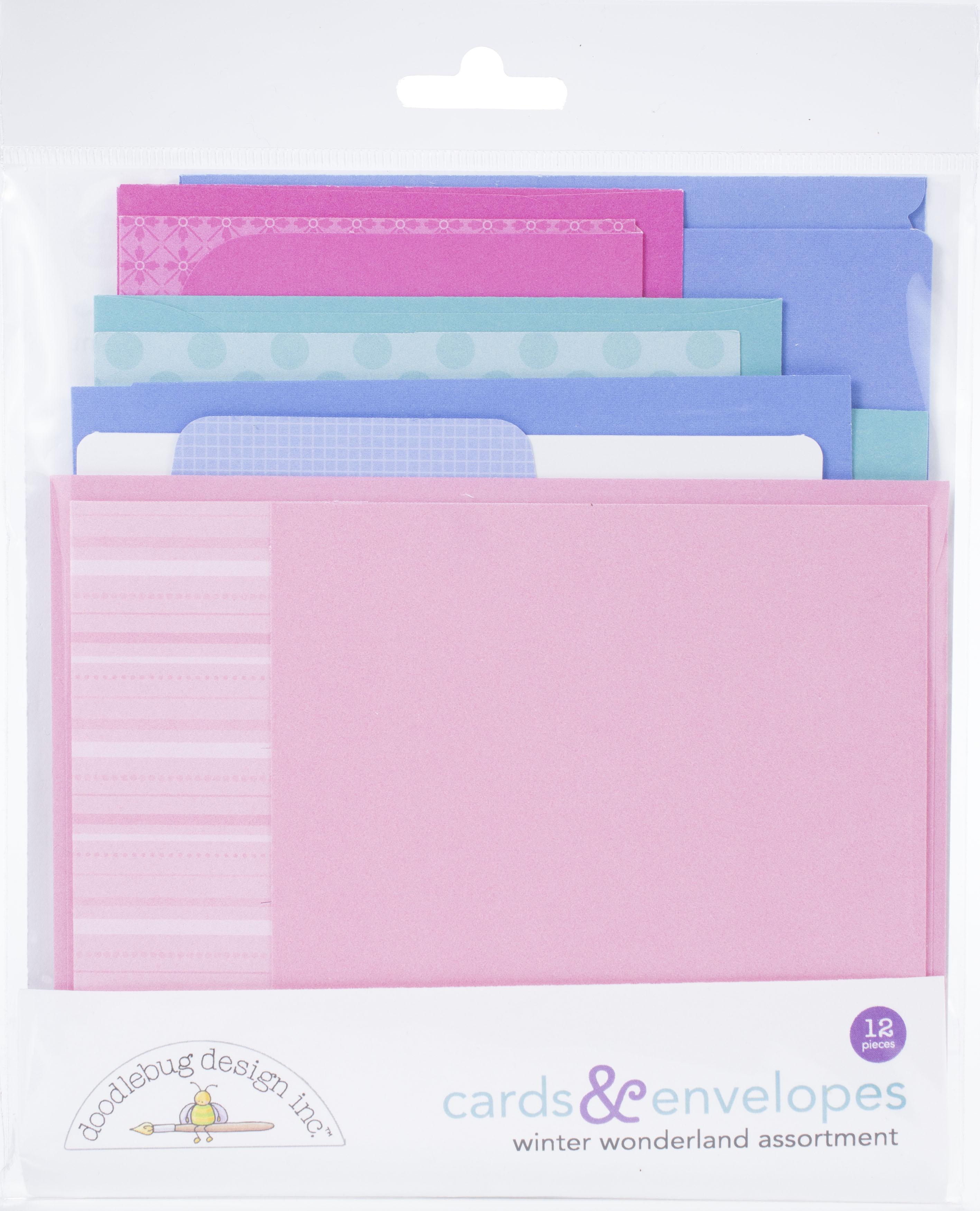 Doodlebug Cards & Envelopes 12/Pkg-Winter Wonderland, 6 Cards/6 Envelopes