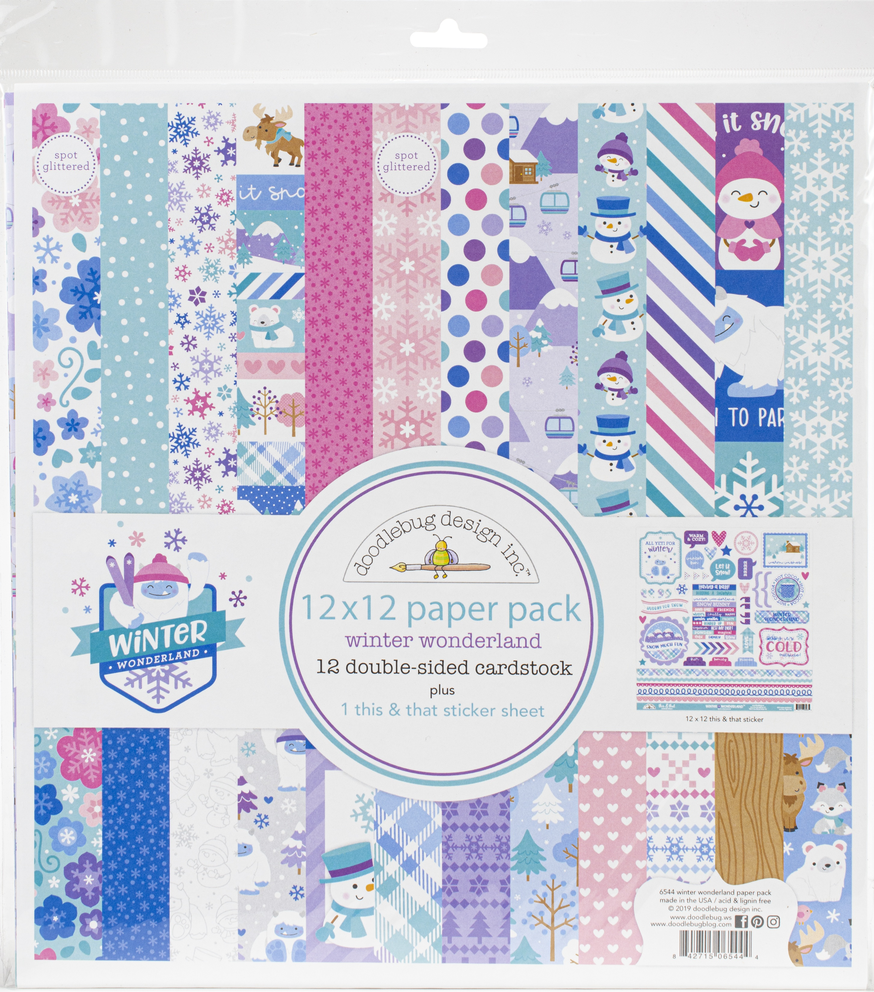 Doodlebug Double-Sided Paper Pack 12X12 12/Pkg-Winter Wonderland