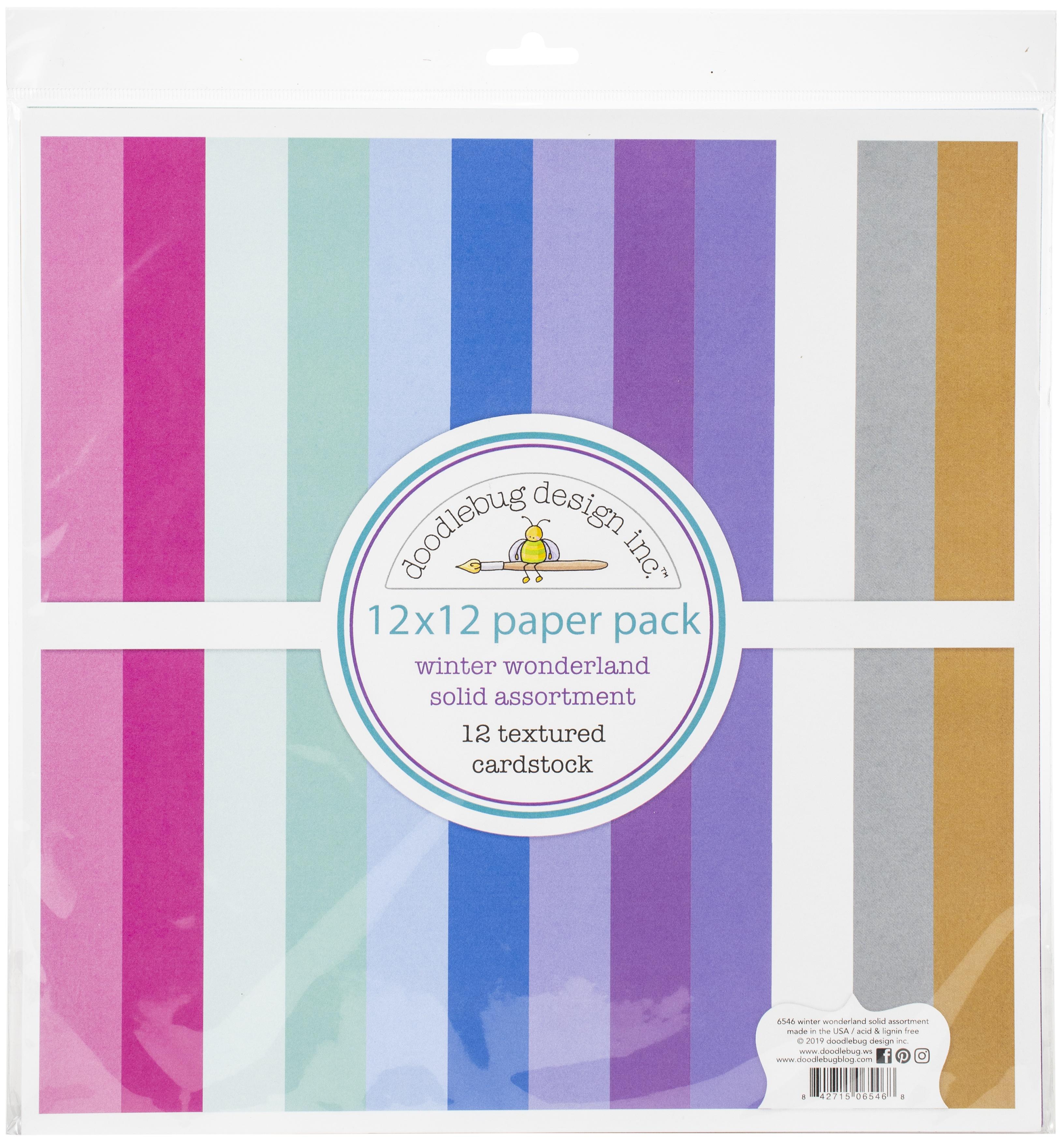 Doodlebug Textured Double-Sided Cardstock 12X12 Pack-Winter Wonderland