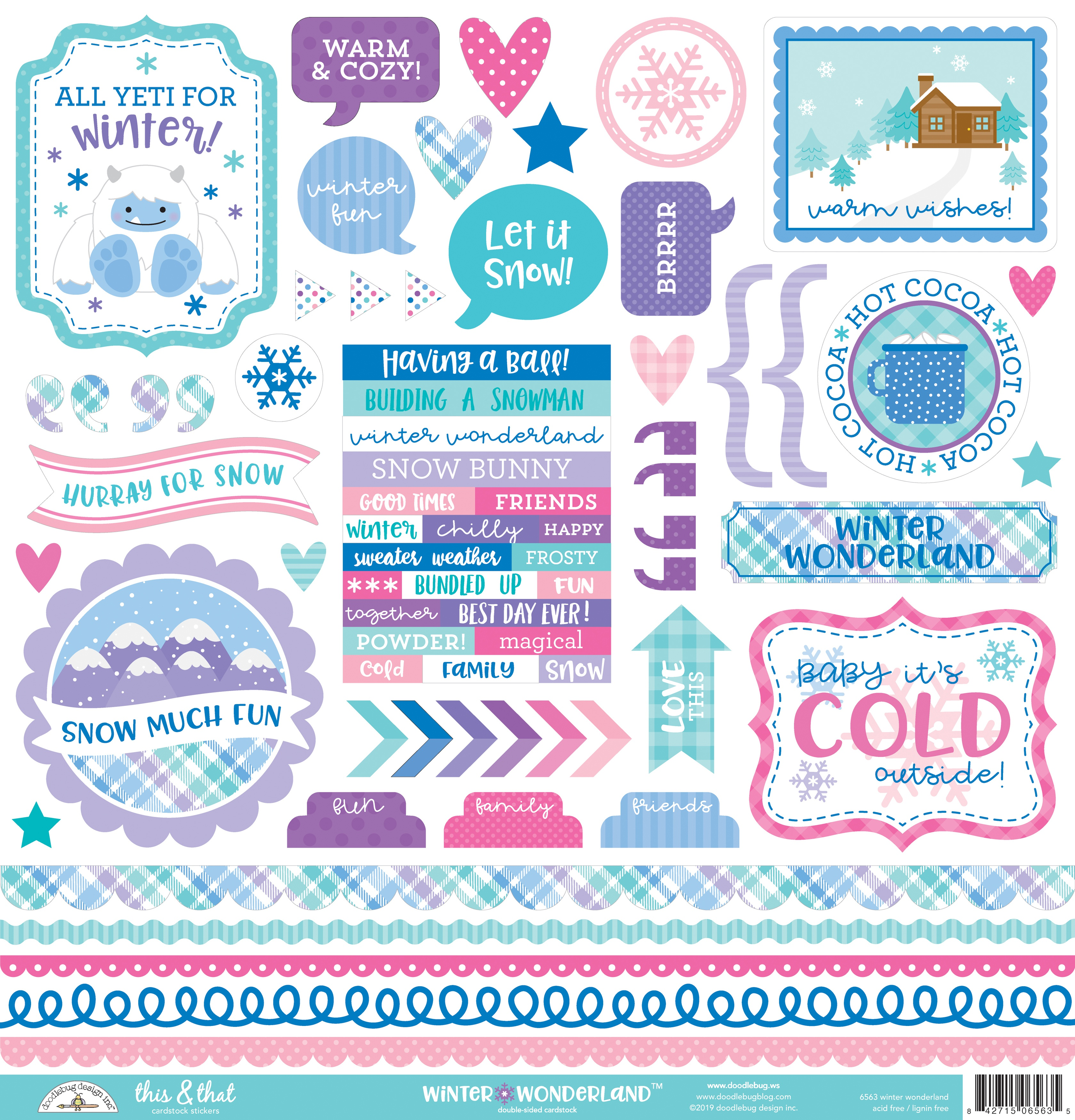 Doodlebug This & That Cardstock Stickers 12X12-Winter Wonderland This & That