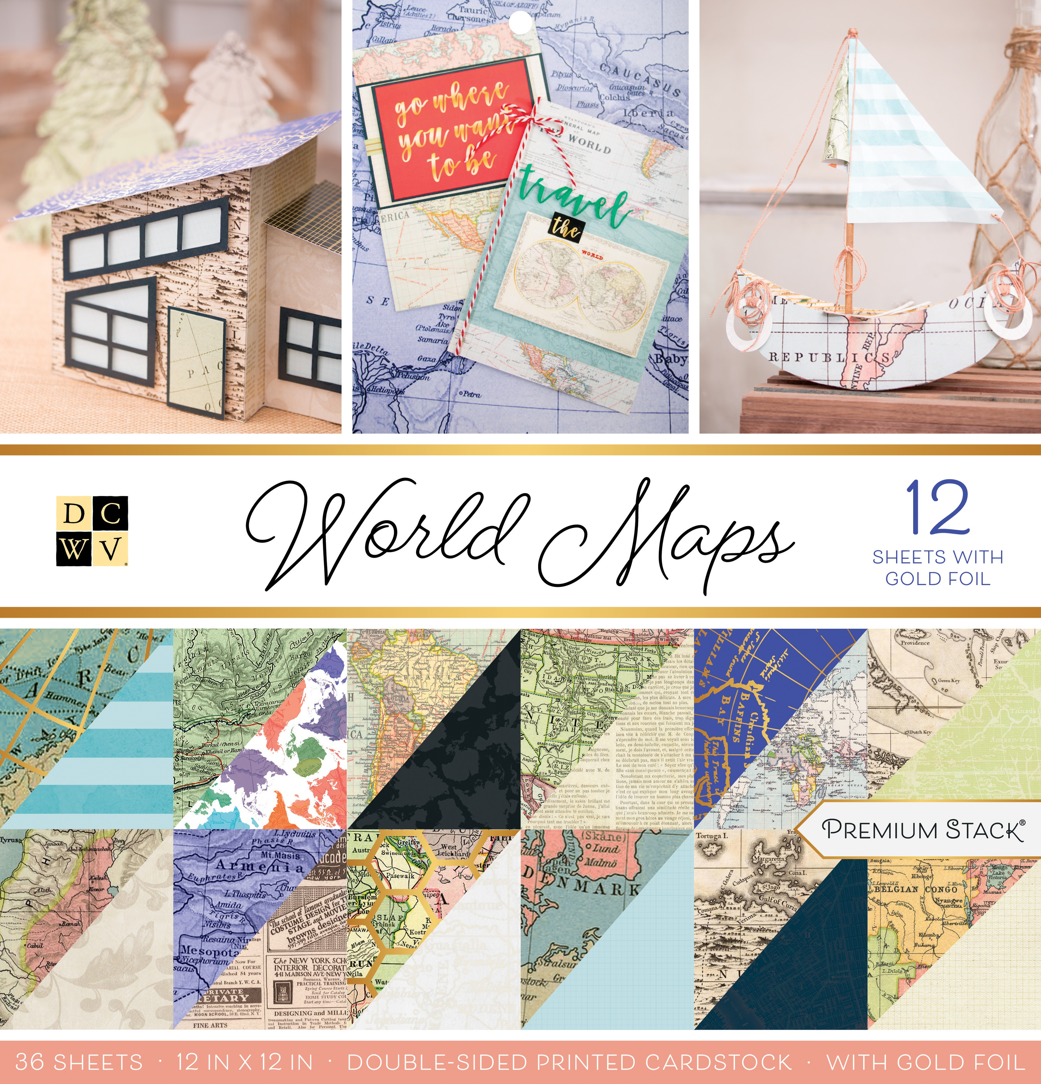 DCWV Double-Sided Cardstock Stack 12X12 36/Pkg-World Maps W/Foil Accents