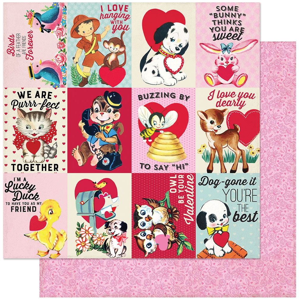 Love Notes Double-Sided Cardstock 12X12-#8 3X4 Animal Sayings Cut-Aparts
