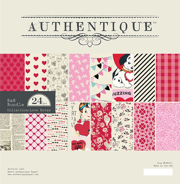 Authentique Double-Sided Cardstock Pad 8X8 24/Pkg-Love Notes