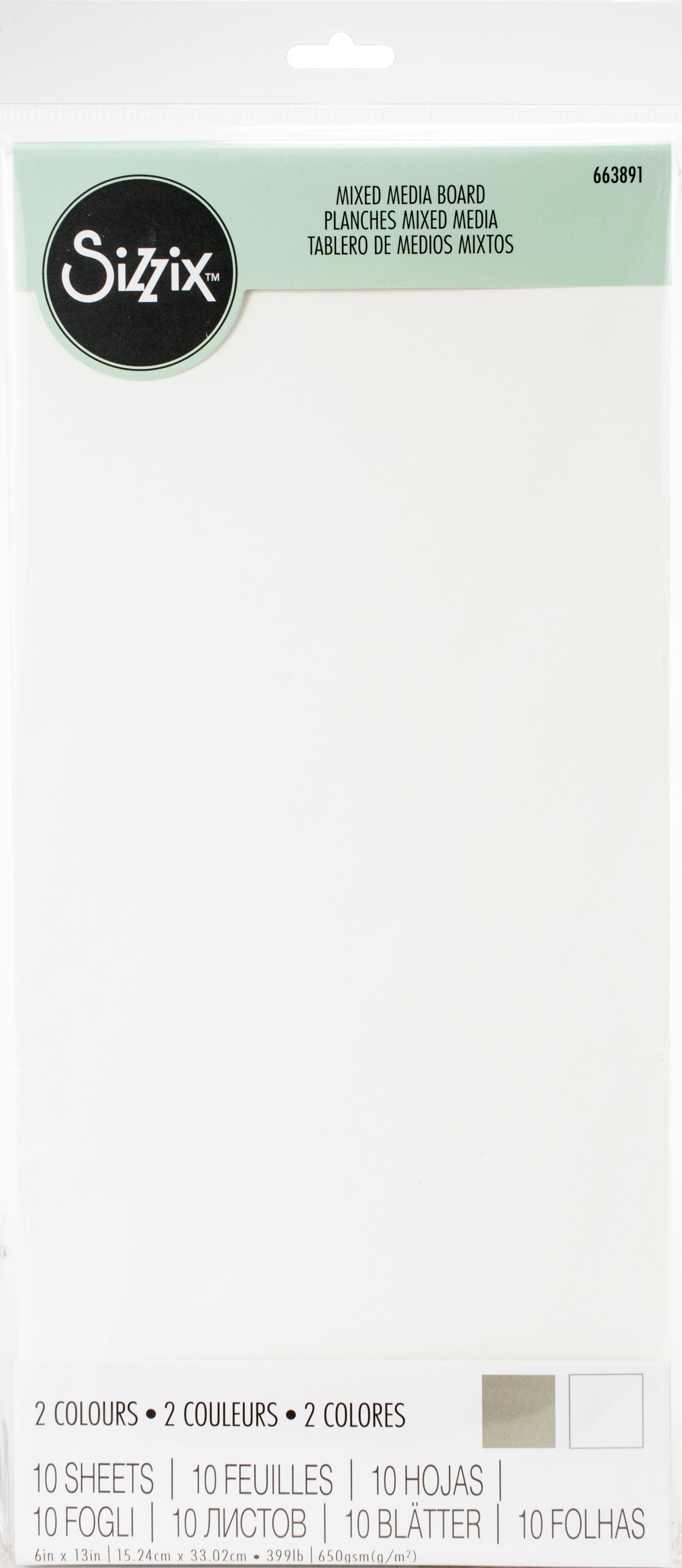 Sizzix Surfacez Mixed Media Board 6X13 10/Pkg-White & Gray