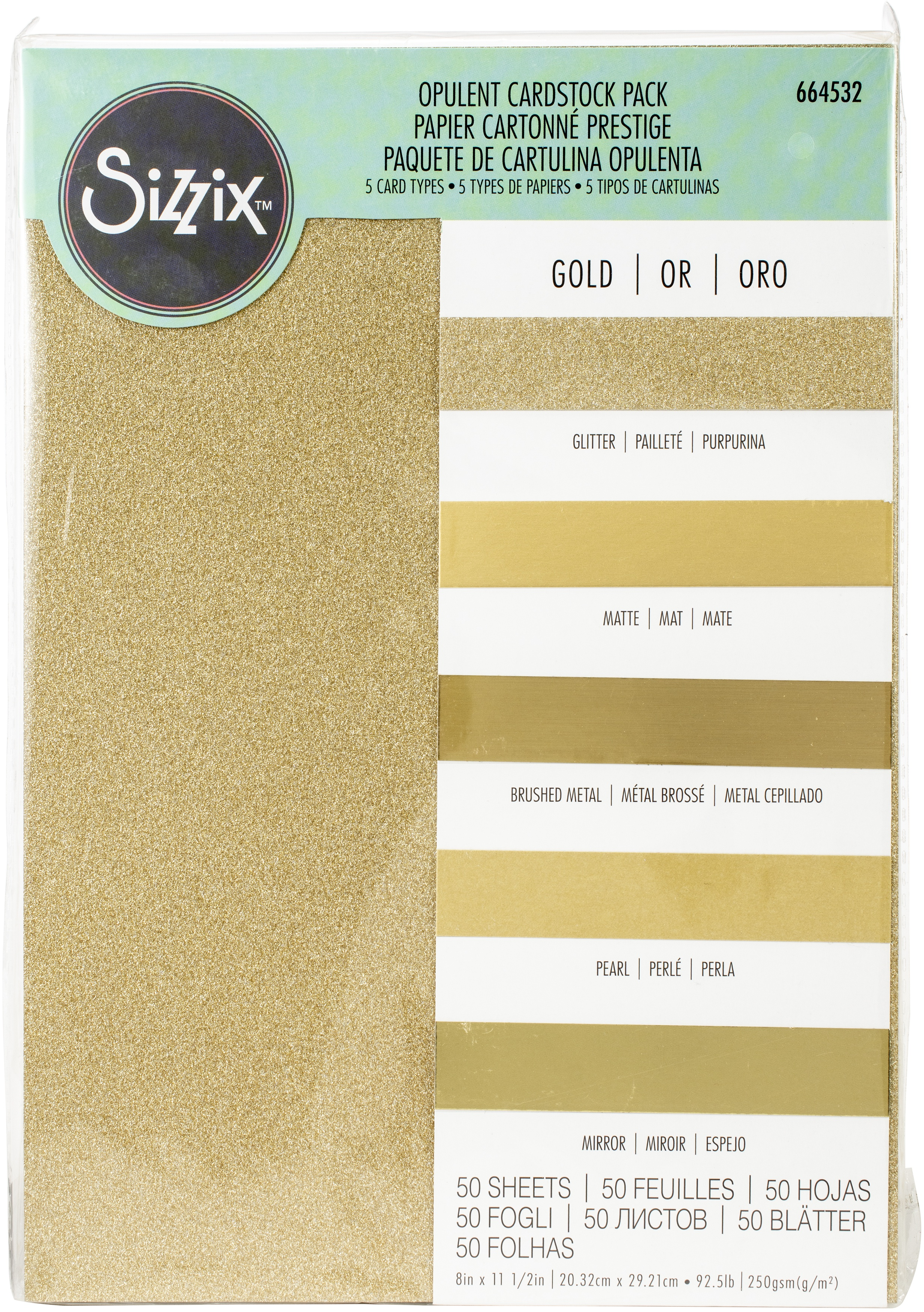 Sizzix Surfacez Opulent Cardstock Pack 8X11.5 50/Pkg-Gold