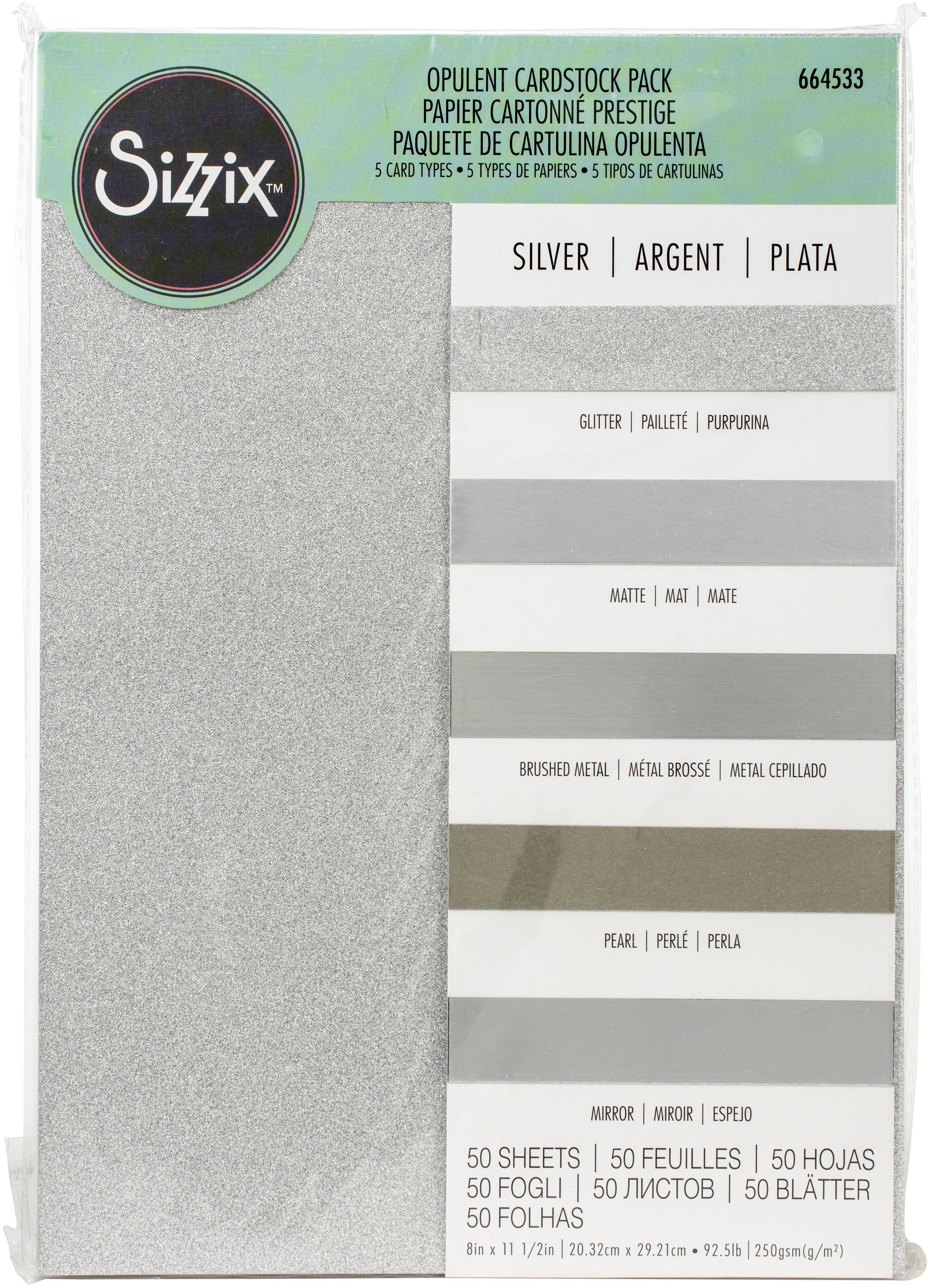 Sizzix Surfacez Opulent Cardstock Pack 8X11.5 50/Pkg-Silver