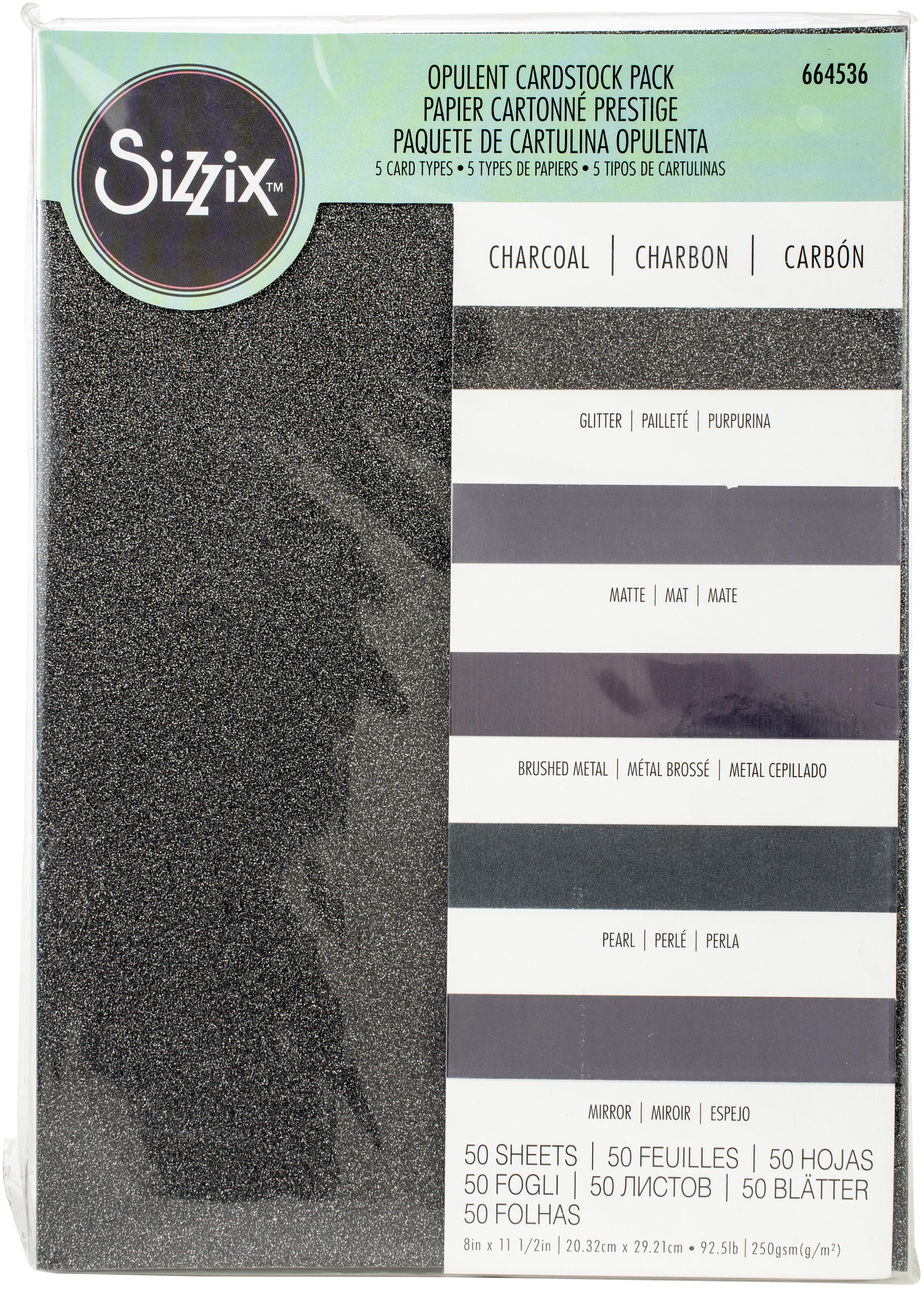 Sizzix Surfacez Opulent Cardstock Pack 8X11.5 50/Pkg-Charcoal