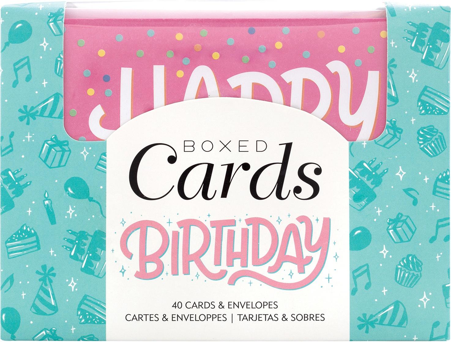 American Crafts A2 Cards W/Envelopes 4X6 40/Box-Blank - Birthday