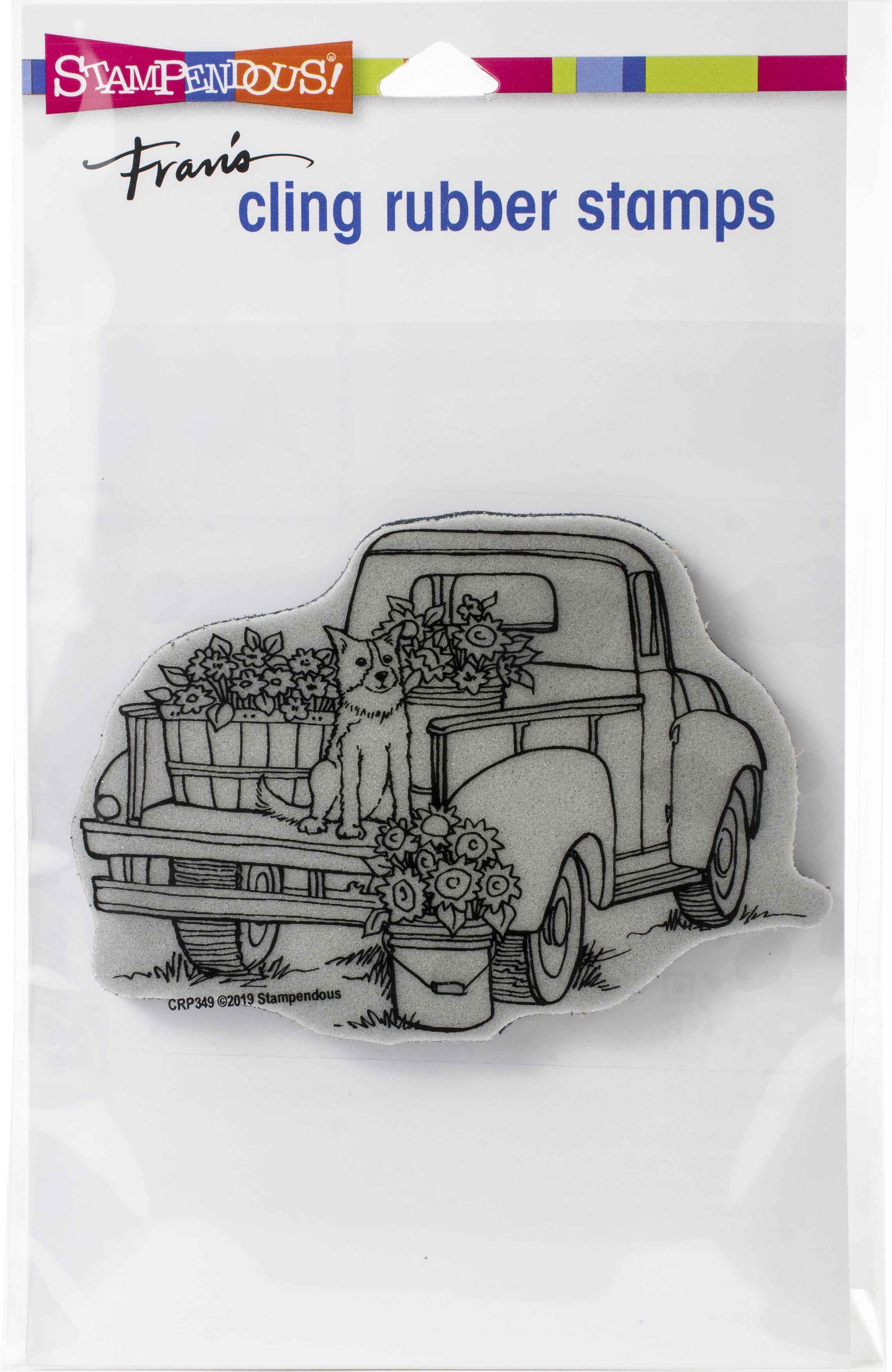 Stampendous Cling Stamp-Pup On Truck