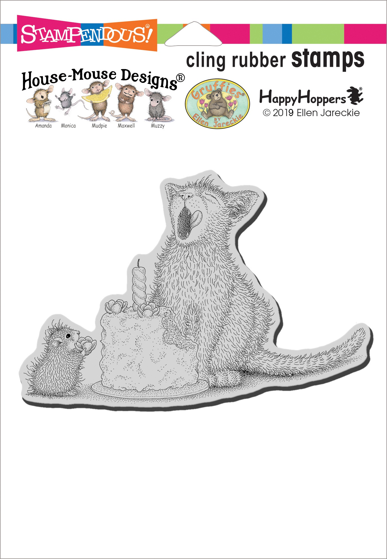 Stampendous House Mouse Cling Stamp-Birthday Kitty