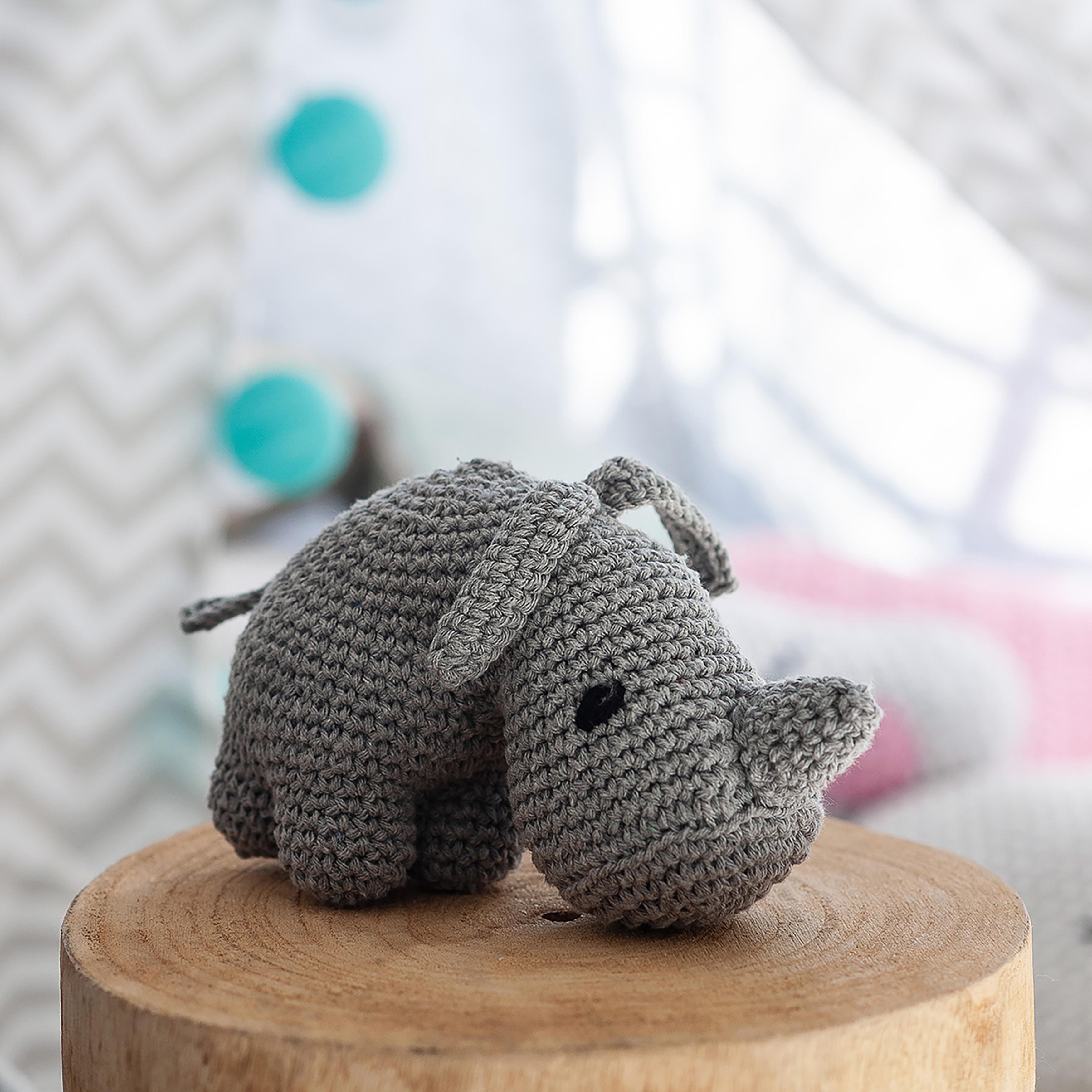Hoooked Rhino Dex Yarn Kit W/Eco Barbante Yarn-Grey