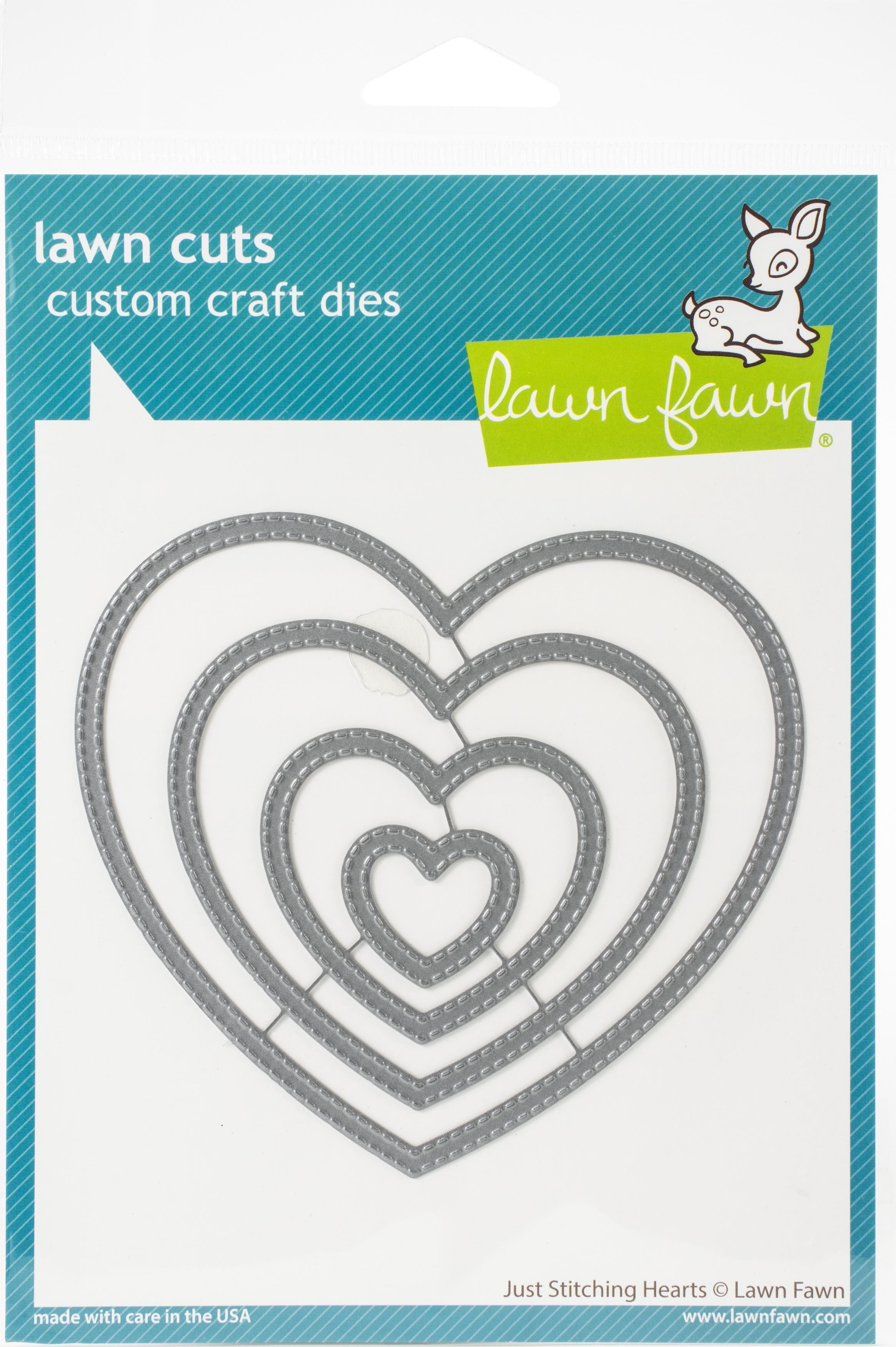 Lawn Cuts Custom Craft Die -Just Stitching Hearts