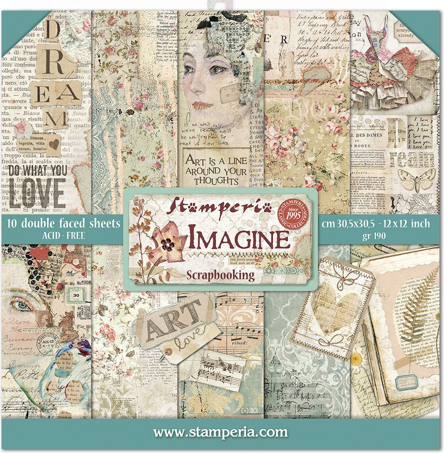 Stamperia Double-Sided Paper Pad 12X12 10/Pkg-Imagine, 10 Designs/1 Each