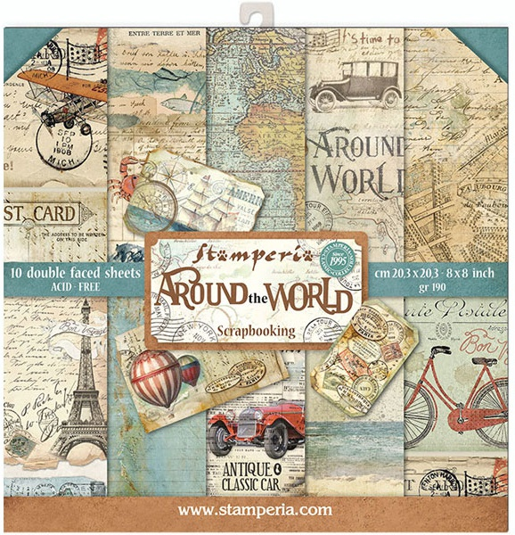 Stamperia Double-Sided Paper Pad 8X8 10/Pkg-Around The World