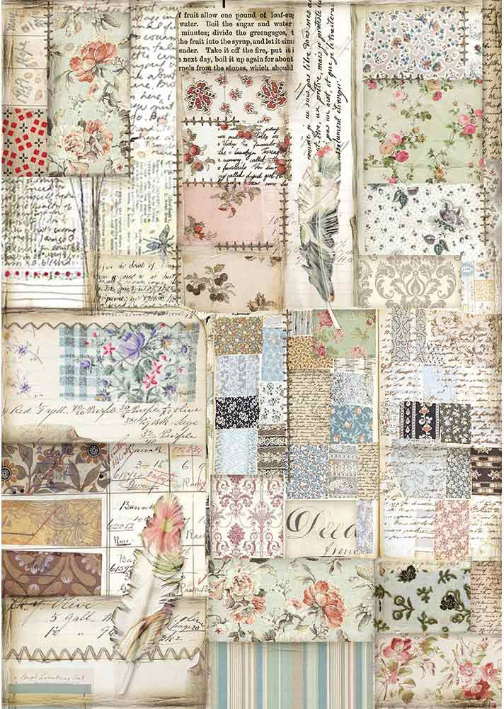 Stamperia Rice Paper Sheet A4-Patchwork Feather