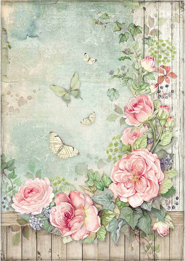 Stamperia Rice Paper Sheet A4-Roses Garden W/Fence