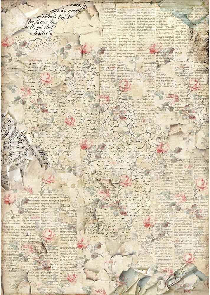 Stamperia Rice Paper Sheet A3-Sound Of Roses