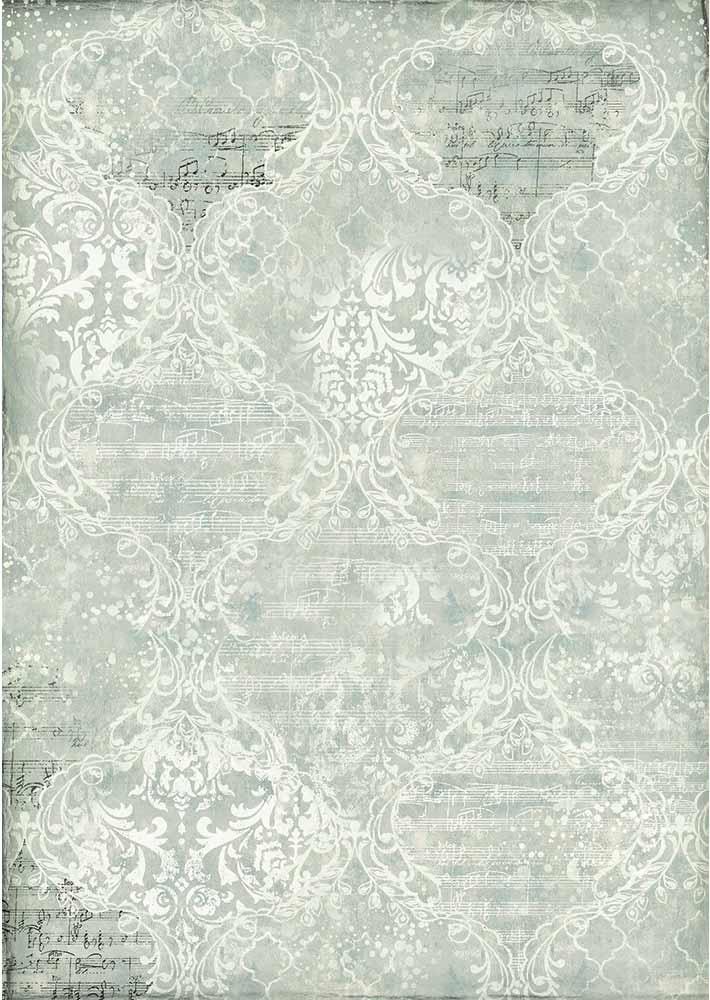 Stamperia Rice Paper Sheet A3-Damascato Blu
