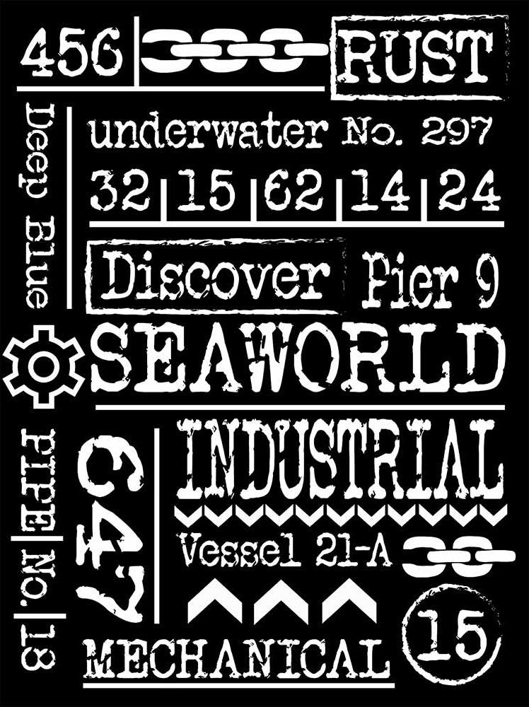 Sea World Writings Stencil
