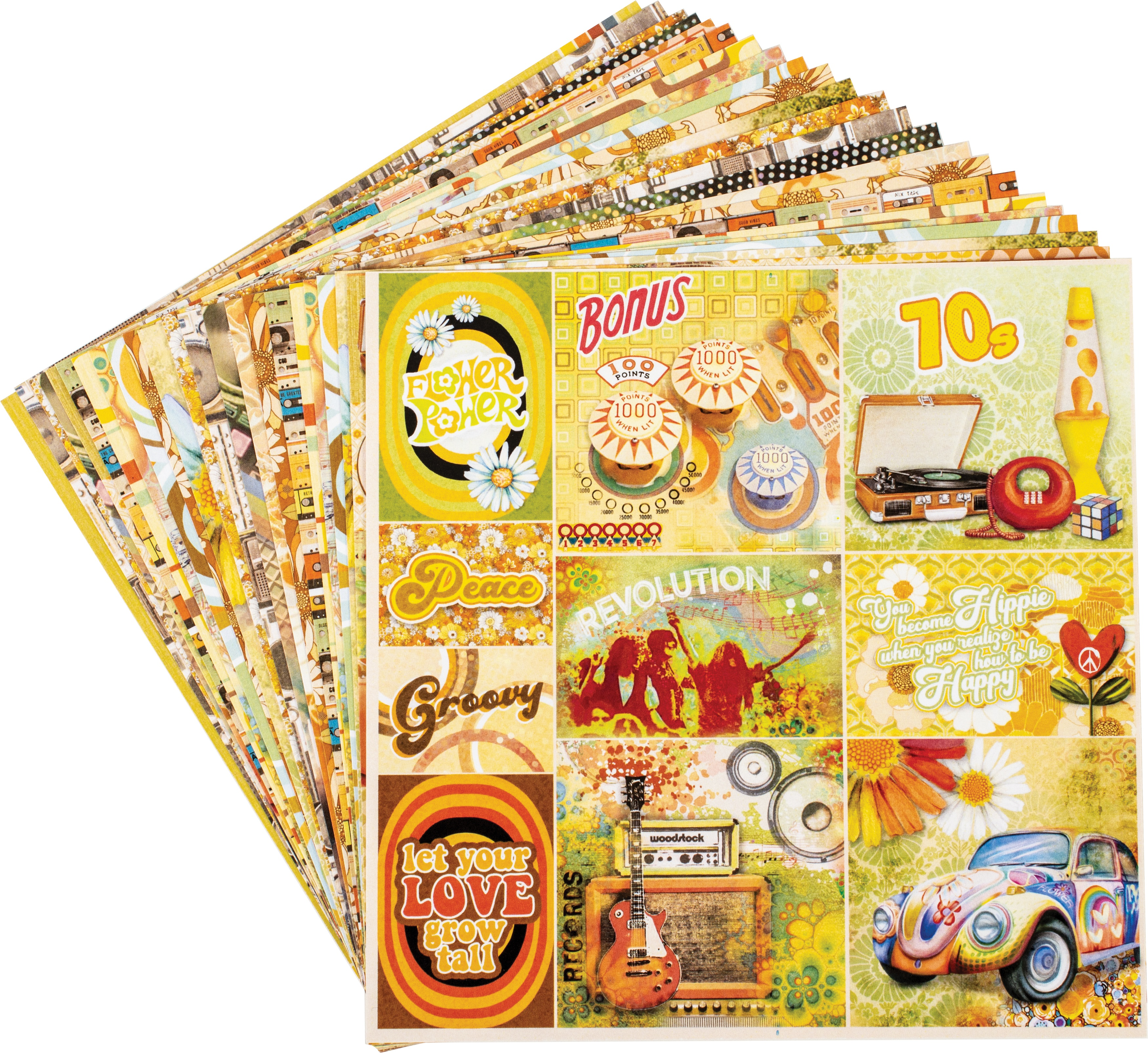 Ciao Bella Double-Sided Paper Pack 90lb 6X6 24/Pkg-The Seventies, 12 Designs/2 Each