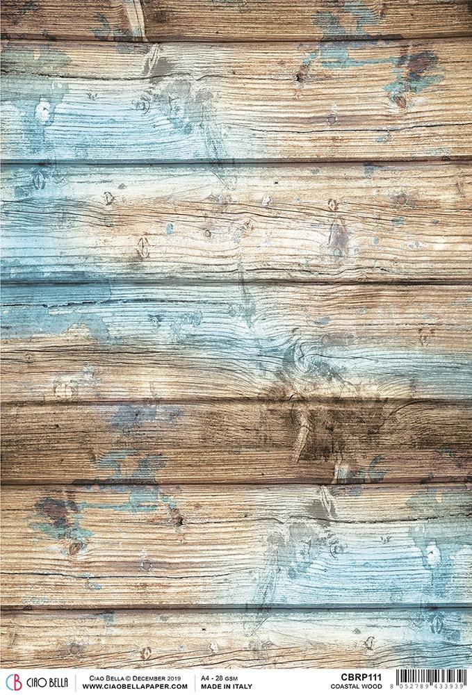 Coastal Wood Rice Paper Sheet A4