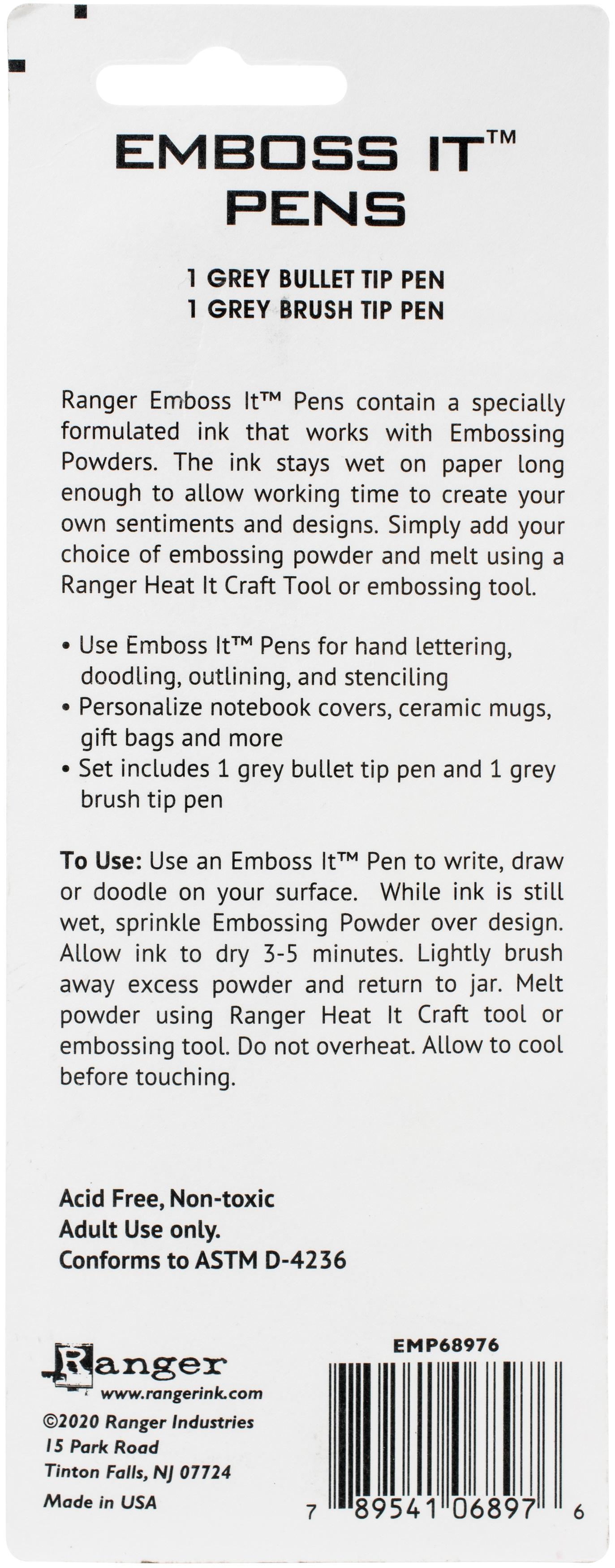 Embossing Pen Set Grey Brush & Grey Bullet