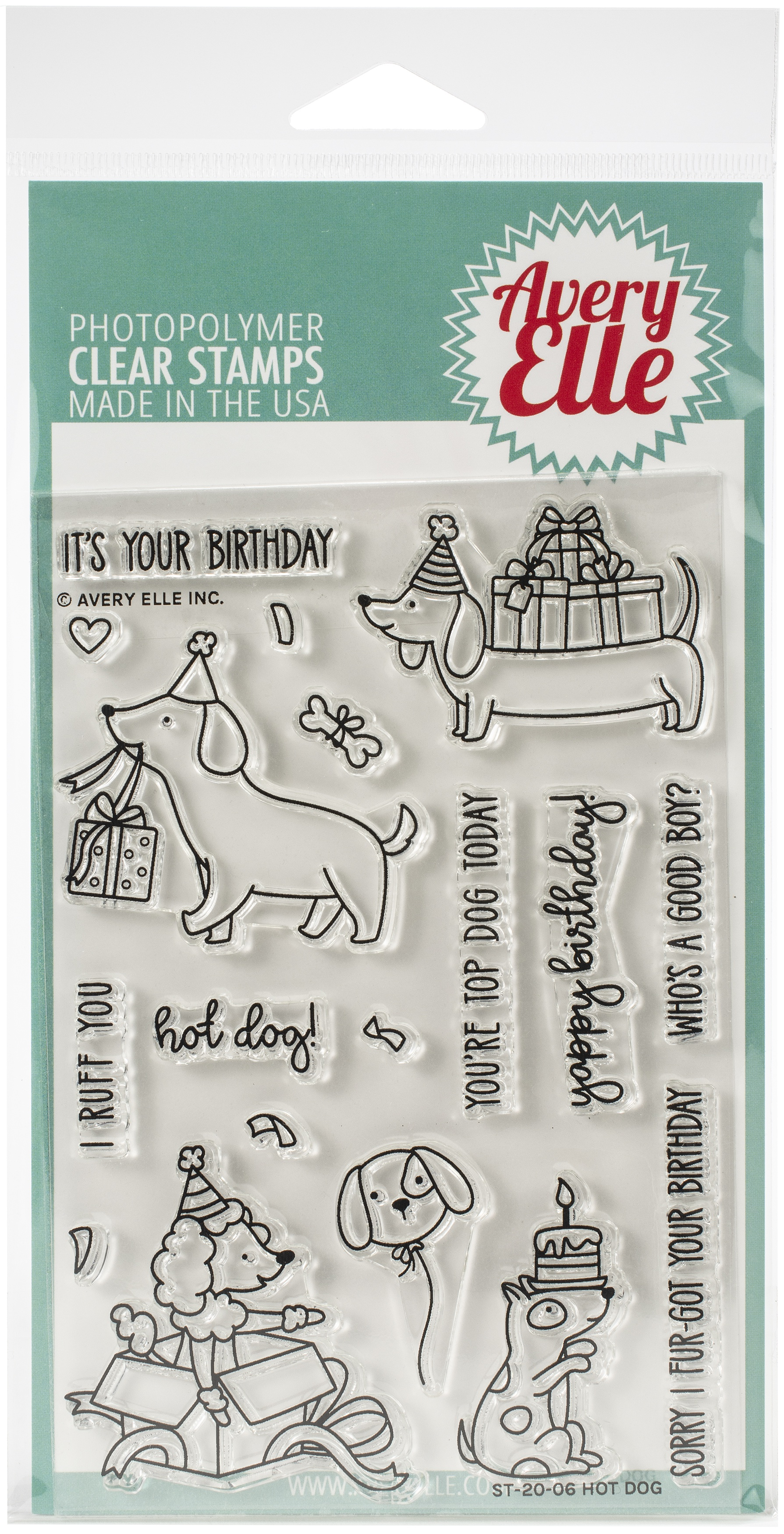 Avery Elle Clear Stamp Set 4X6-Hot Dog