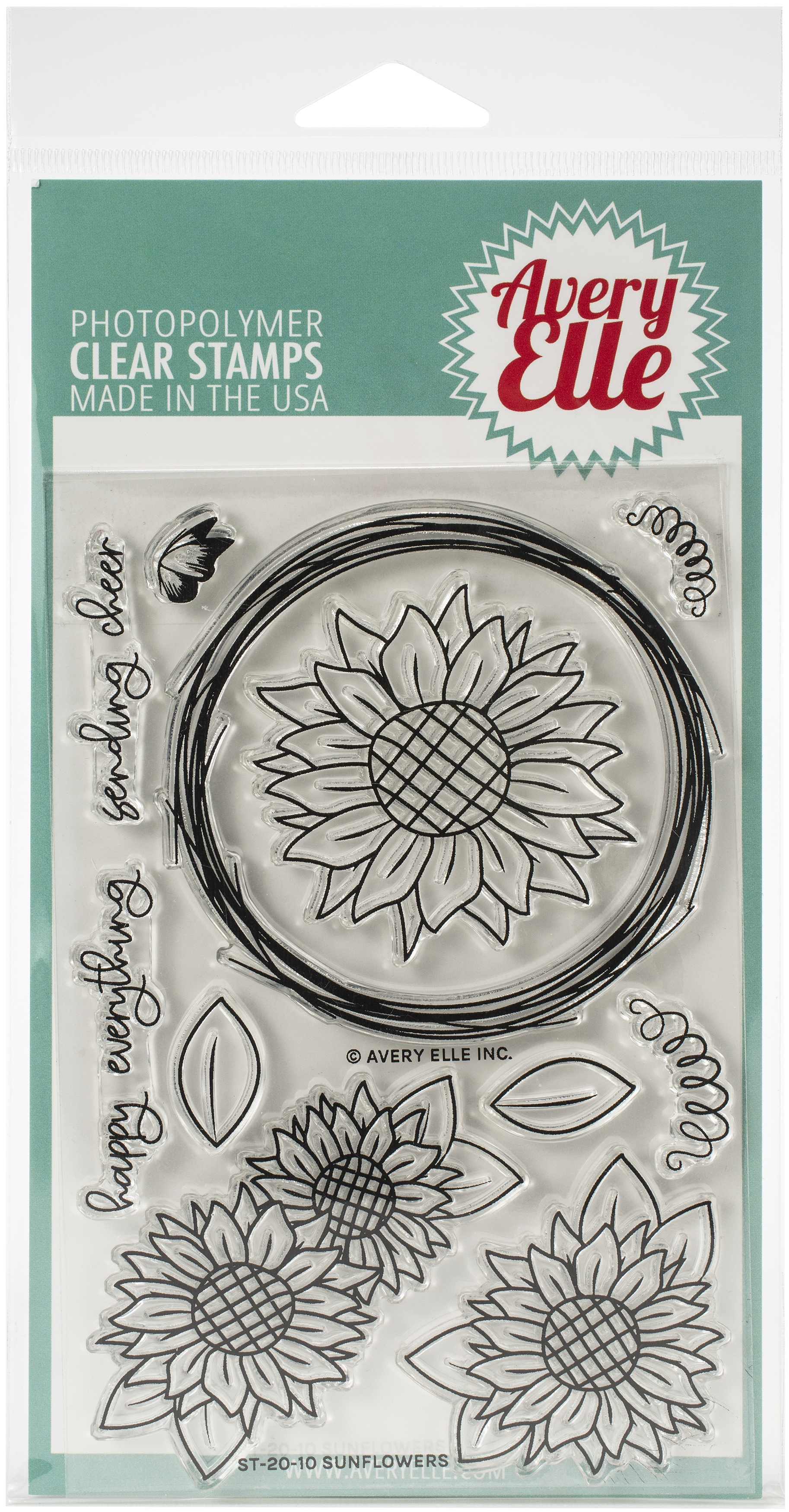 Avery Elle Clear Stamp Set 4X6-Sunflowers