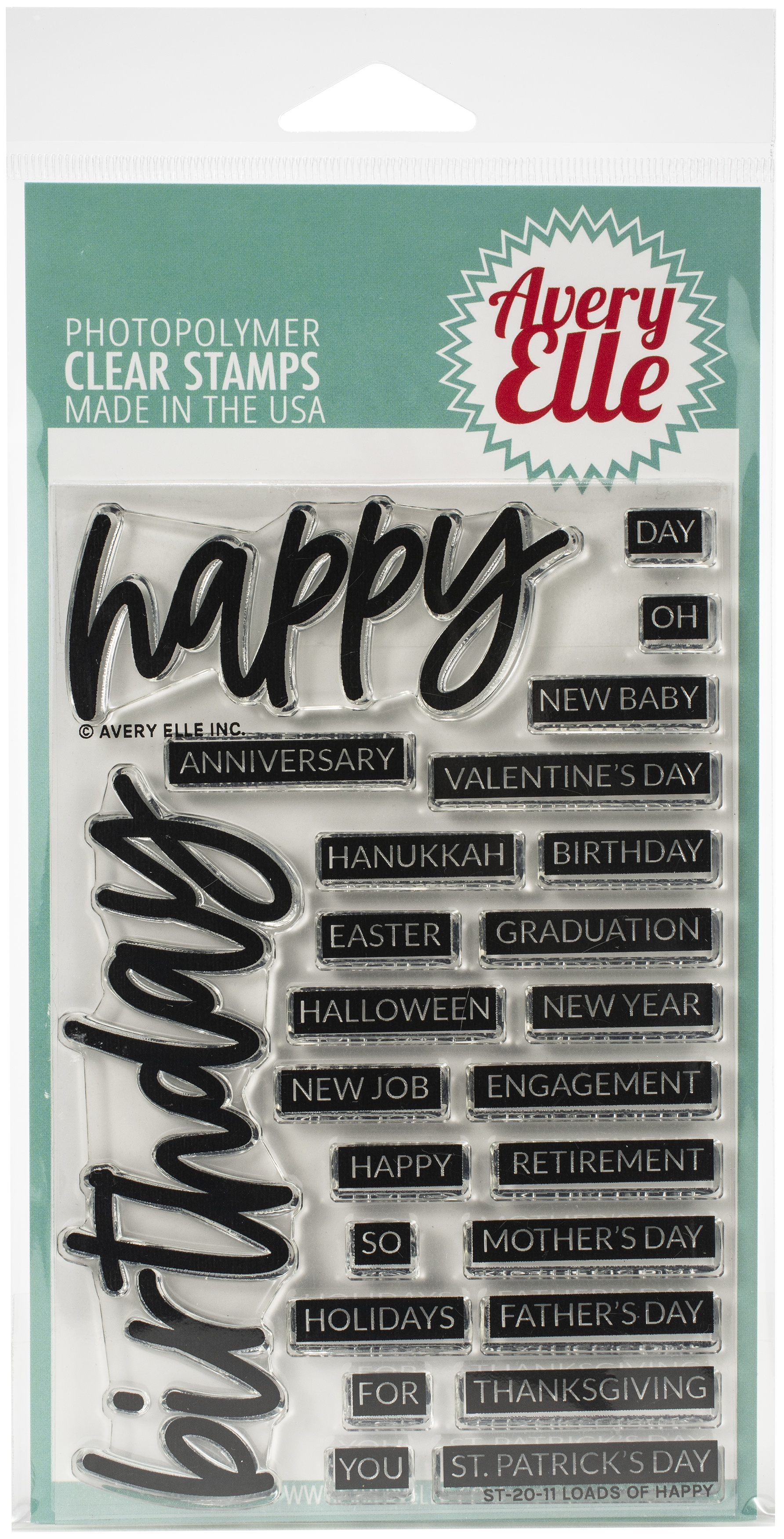 Avery Elle Clear Stamp Set 4X6-Loads Of Happy