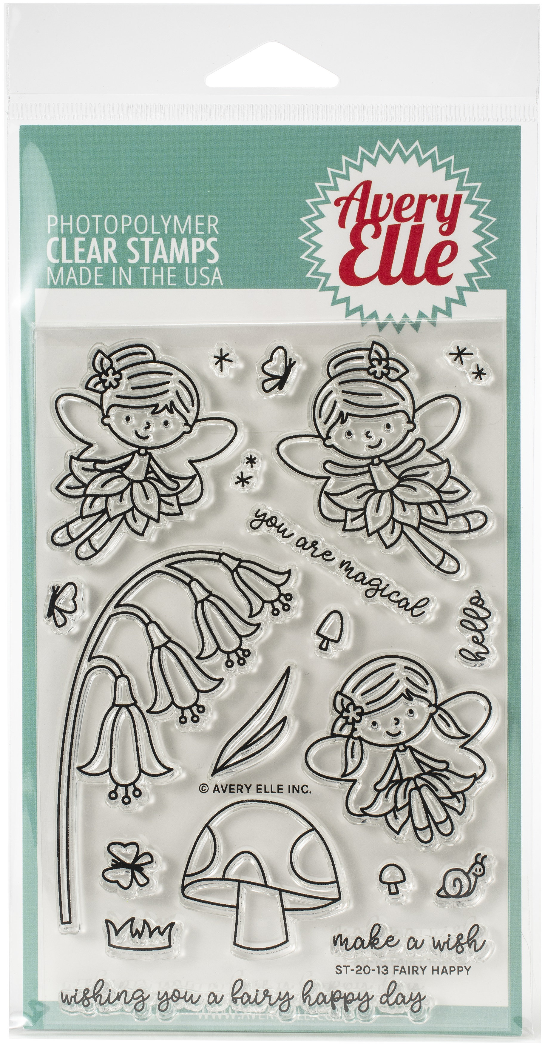 Avery Elle Clear Stamp Set 4X6-Fairy Happy