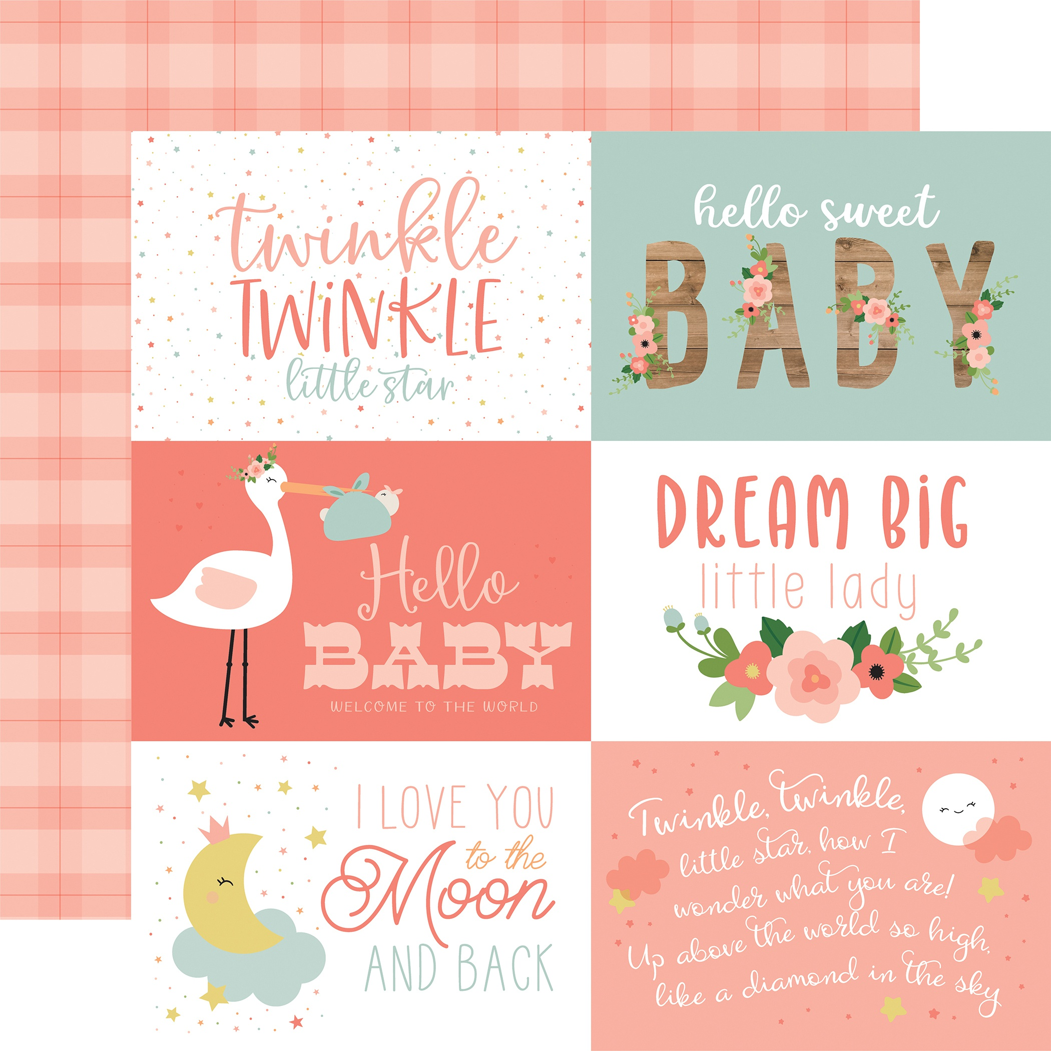 Baby Girl Double-Sided Cardstock 12X12-6X4 Journaling Cards