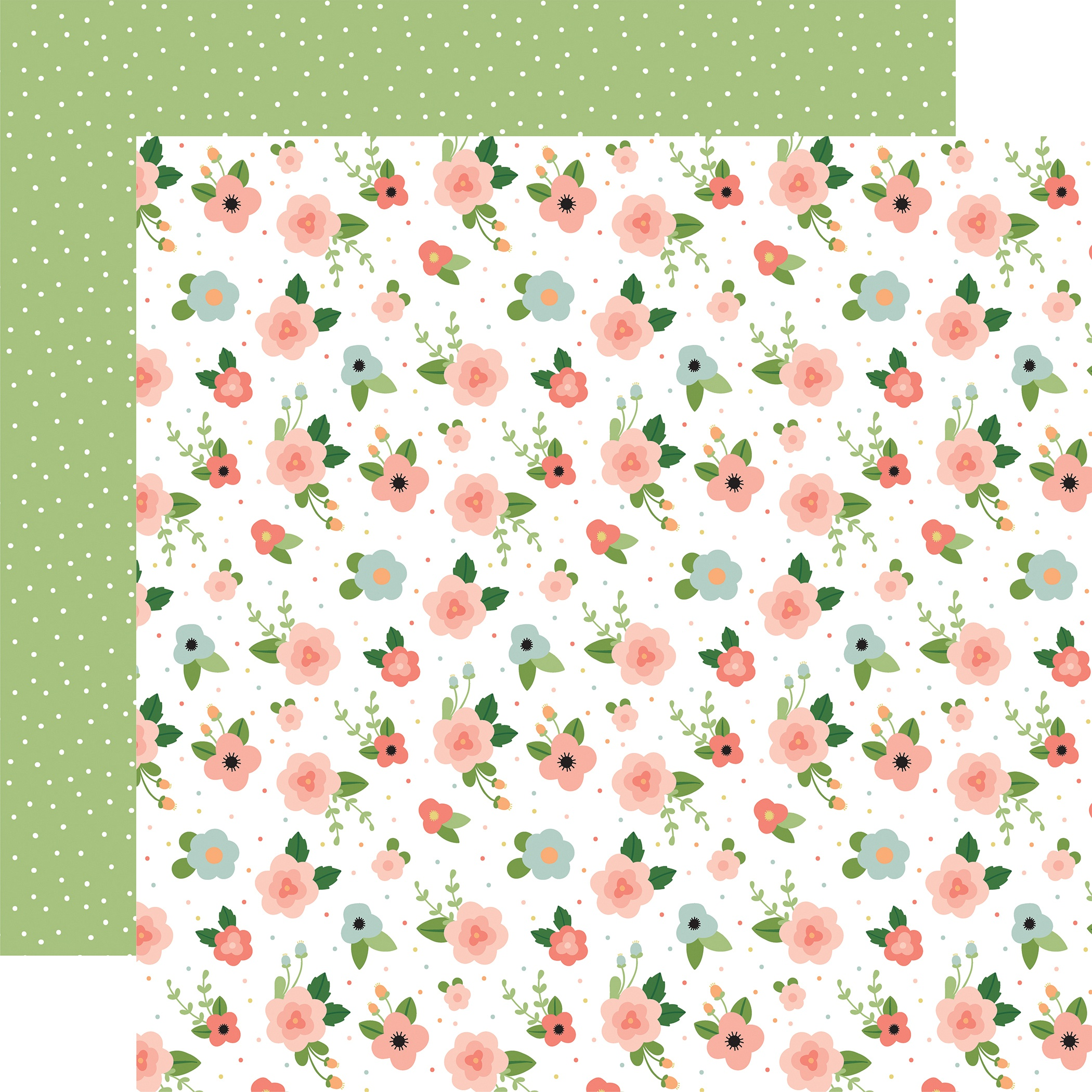 Echo Park Baby Girl - Newborn Floral - 12x12 Double-Sided Paper
