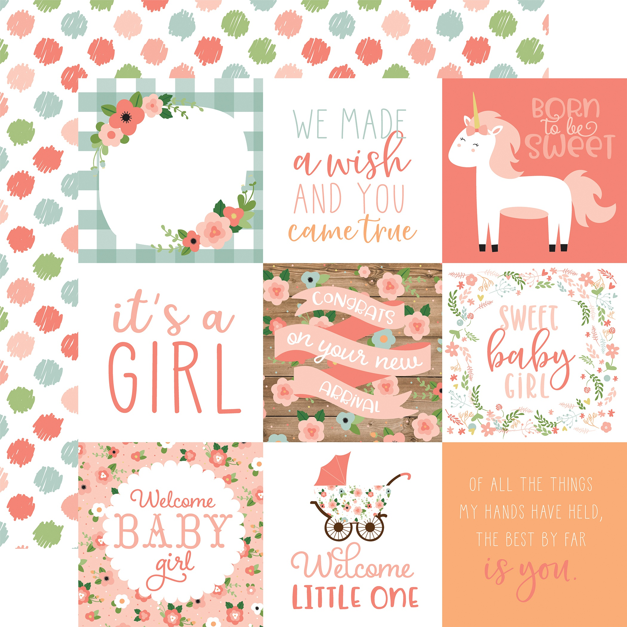 Baby Girl Double-Sided Cardstock 12X12-4X4 Journaling Cards