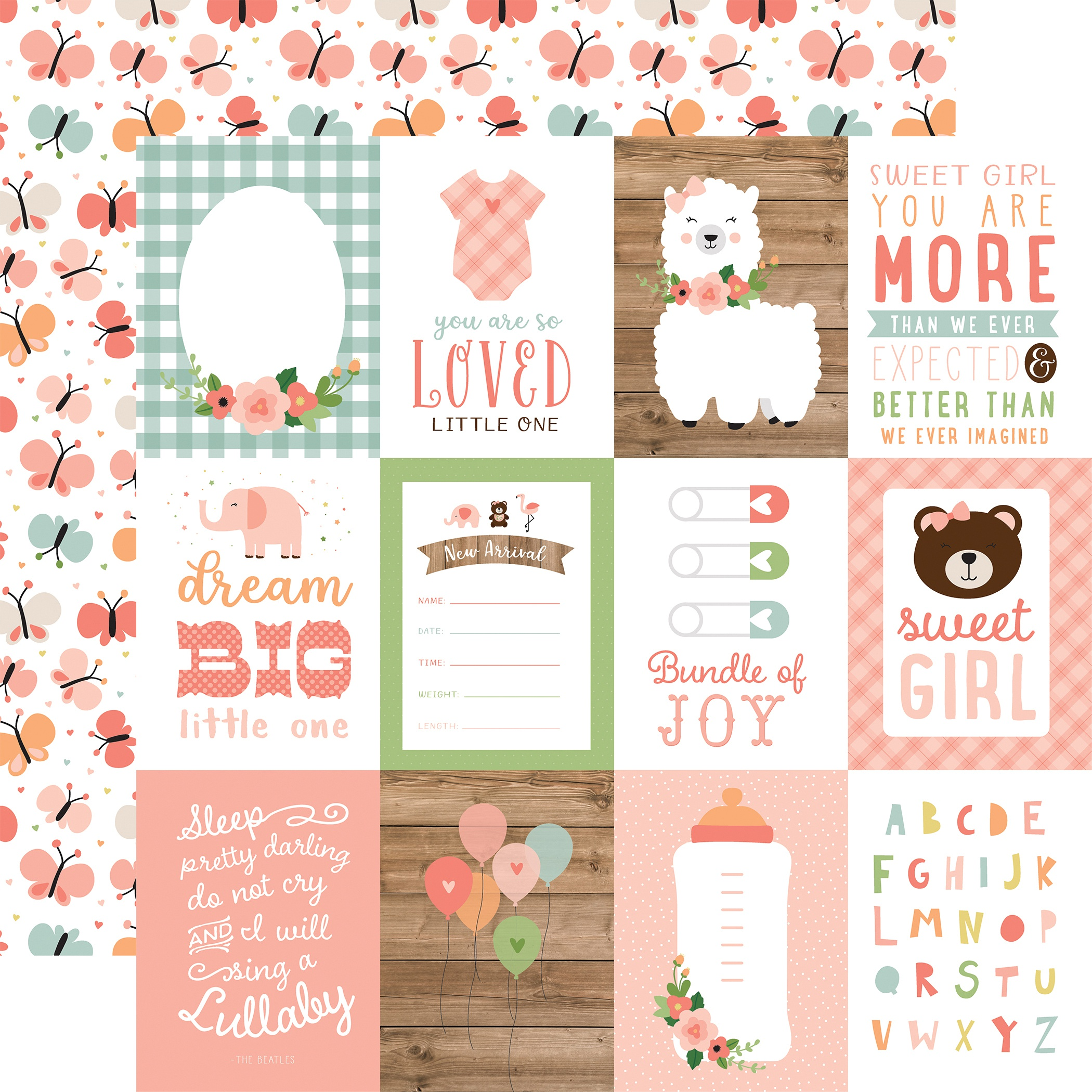 Baby Girl - 3x4 Journaling Cards