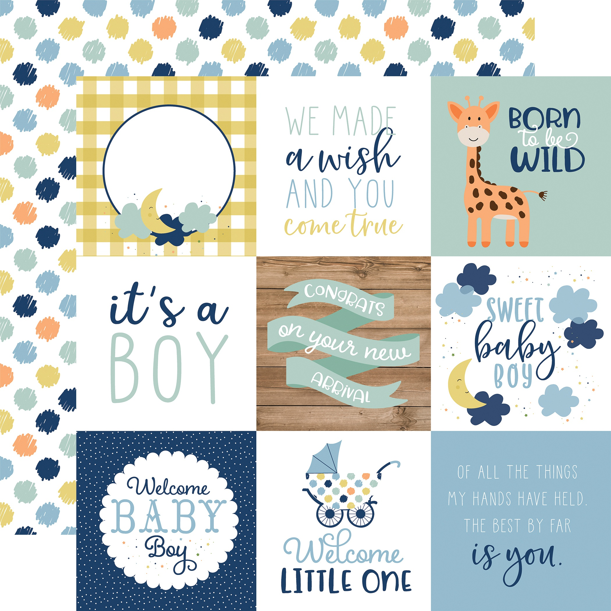 Baby Boy Double-Sided Cardstock 12X12-4X4 Journaling Cards