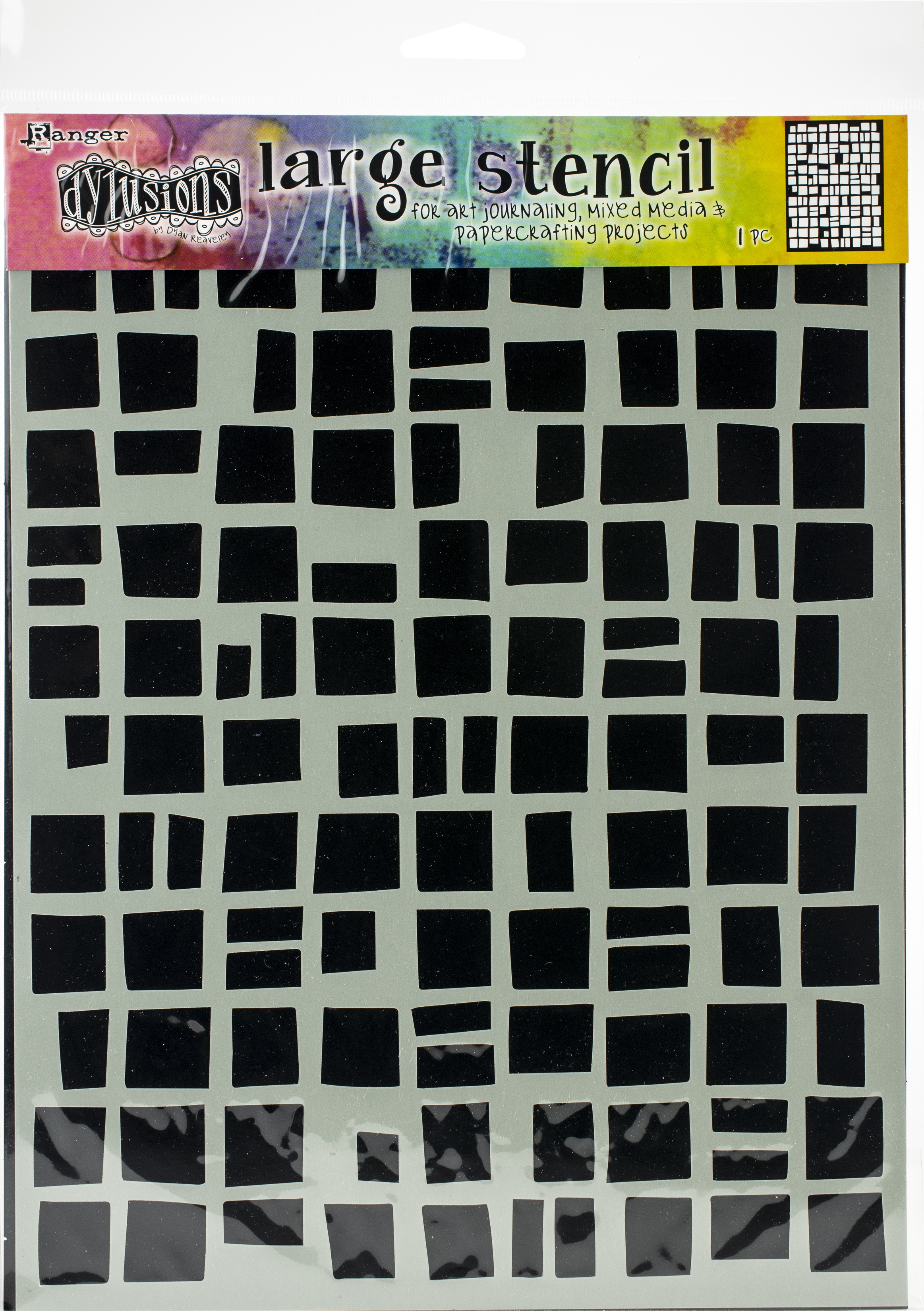 Dyan Reaveley's Dylusions Stencils 9X12-Betsy's Block