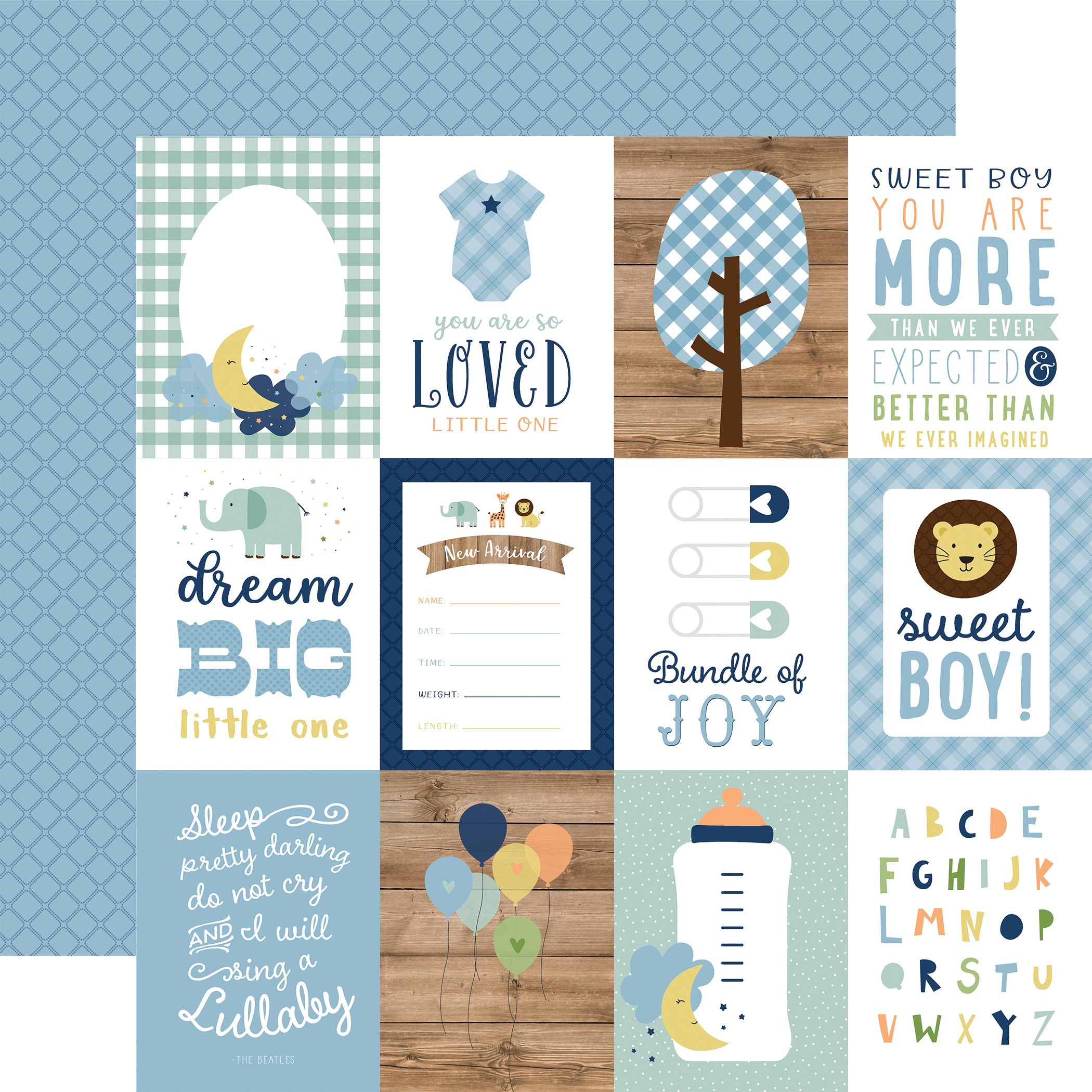 Baby Boy Double-Sided Cardstock 12X12-3X4 Journaling Cards