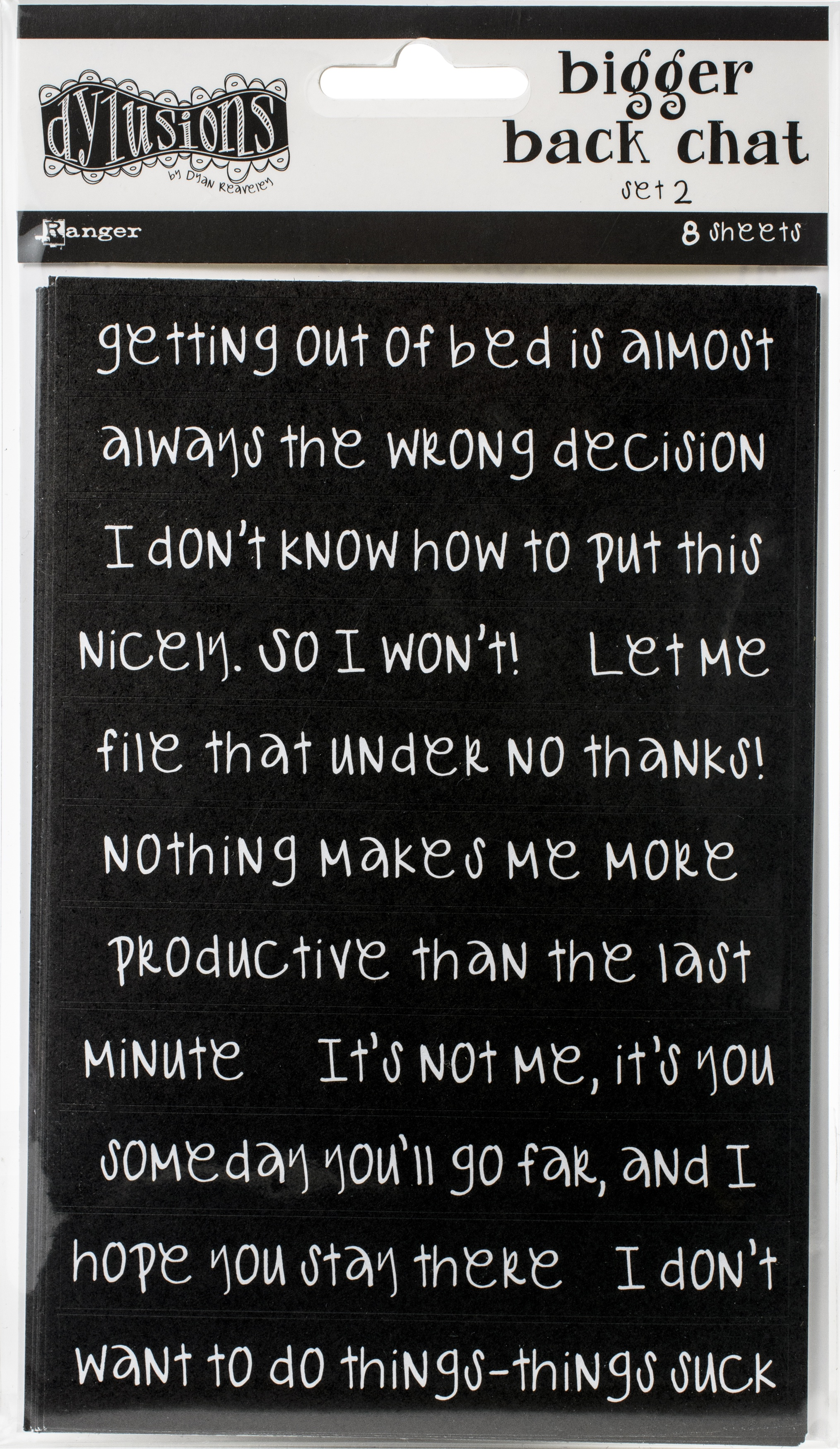 Dyan Reaveley Dylusions Bigger Back Chat Stickers-Black Set #2