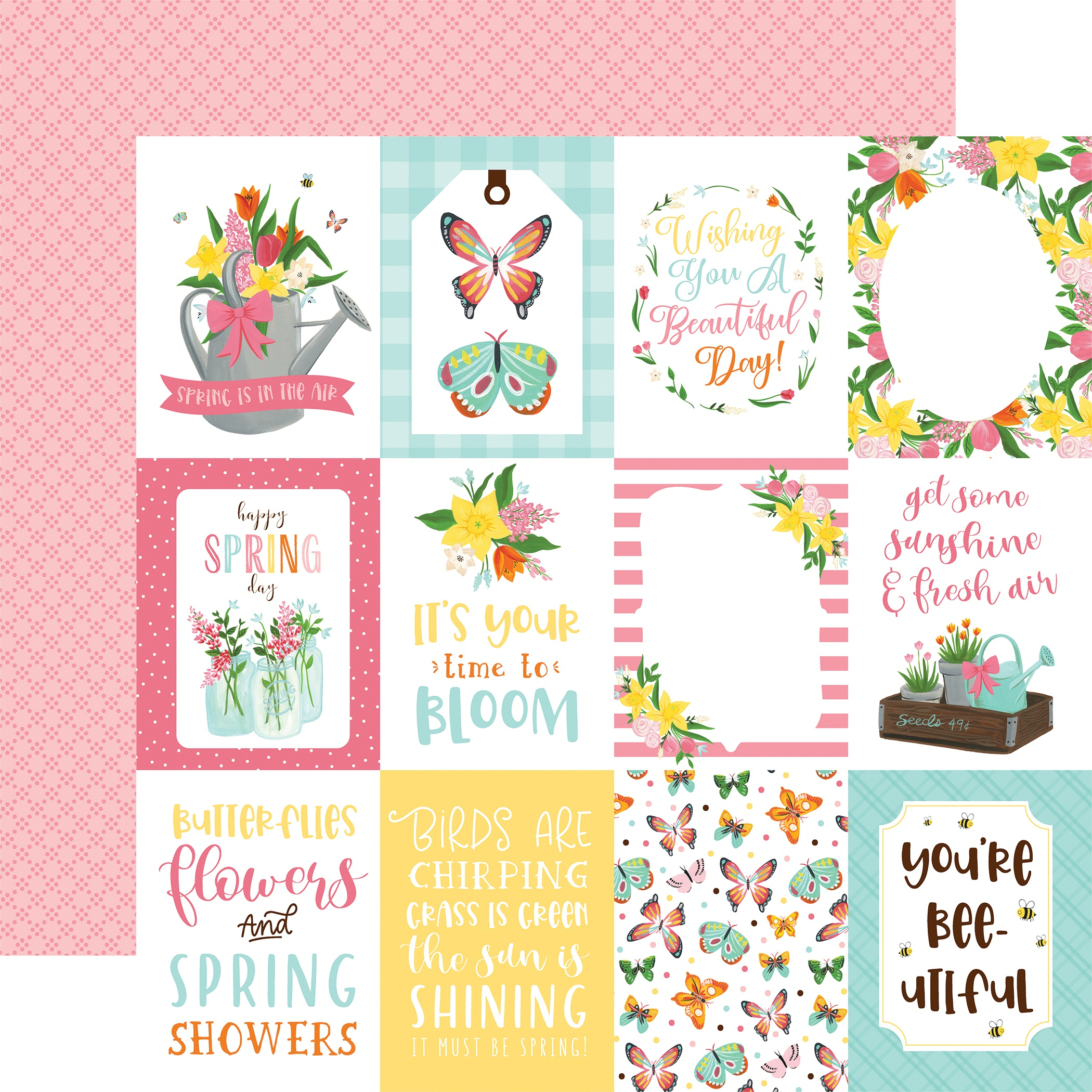 I Love Spring Double-Sided Cardstock 12X12-3X4 Journaling Cards