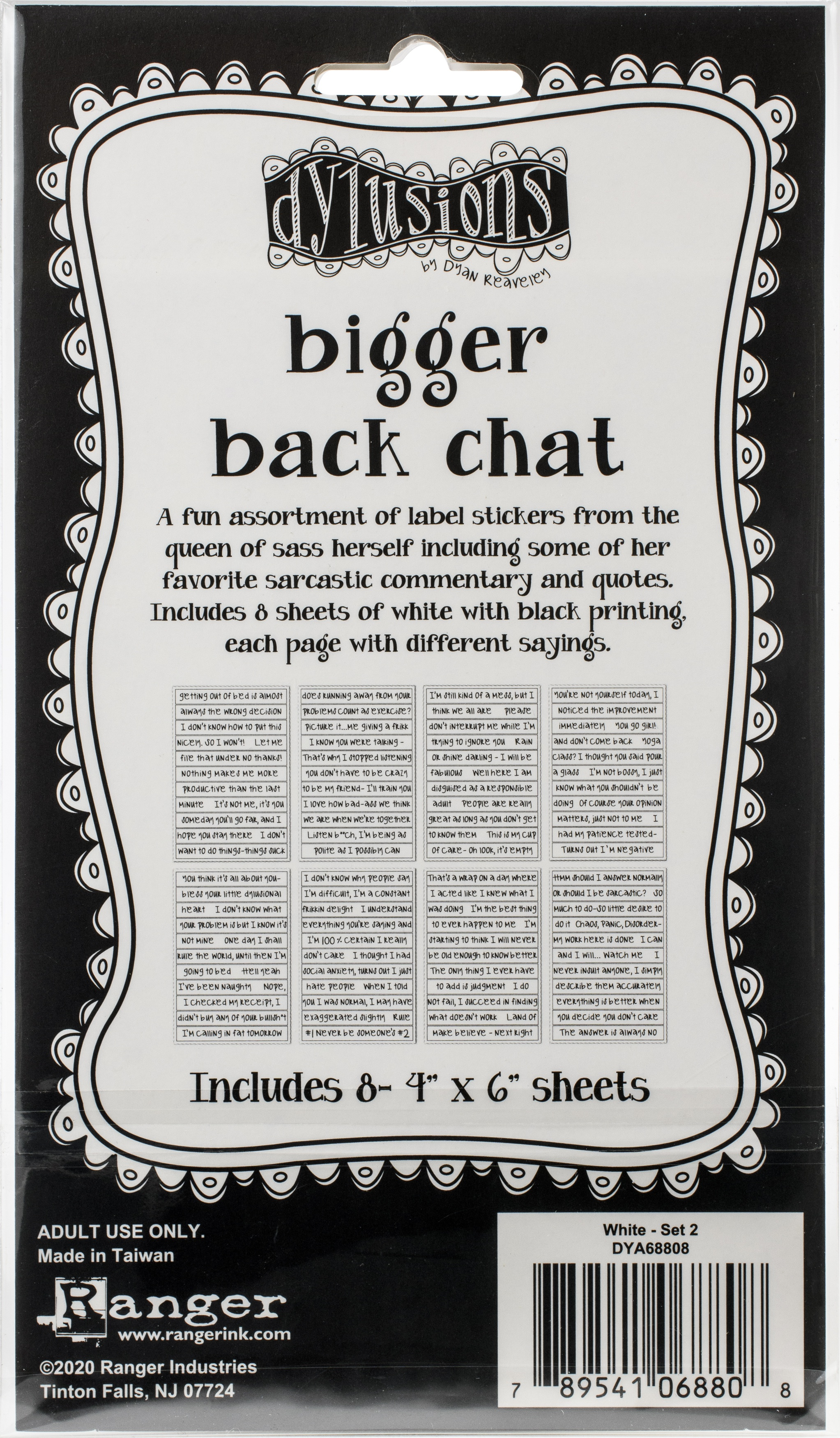Dyan Reaveley's Dylusions Bigger Back Chat Stickers-White Set #2