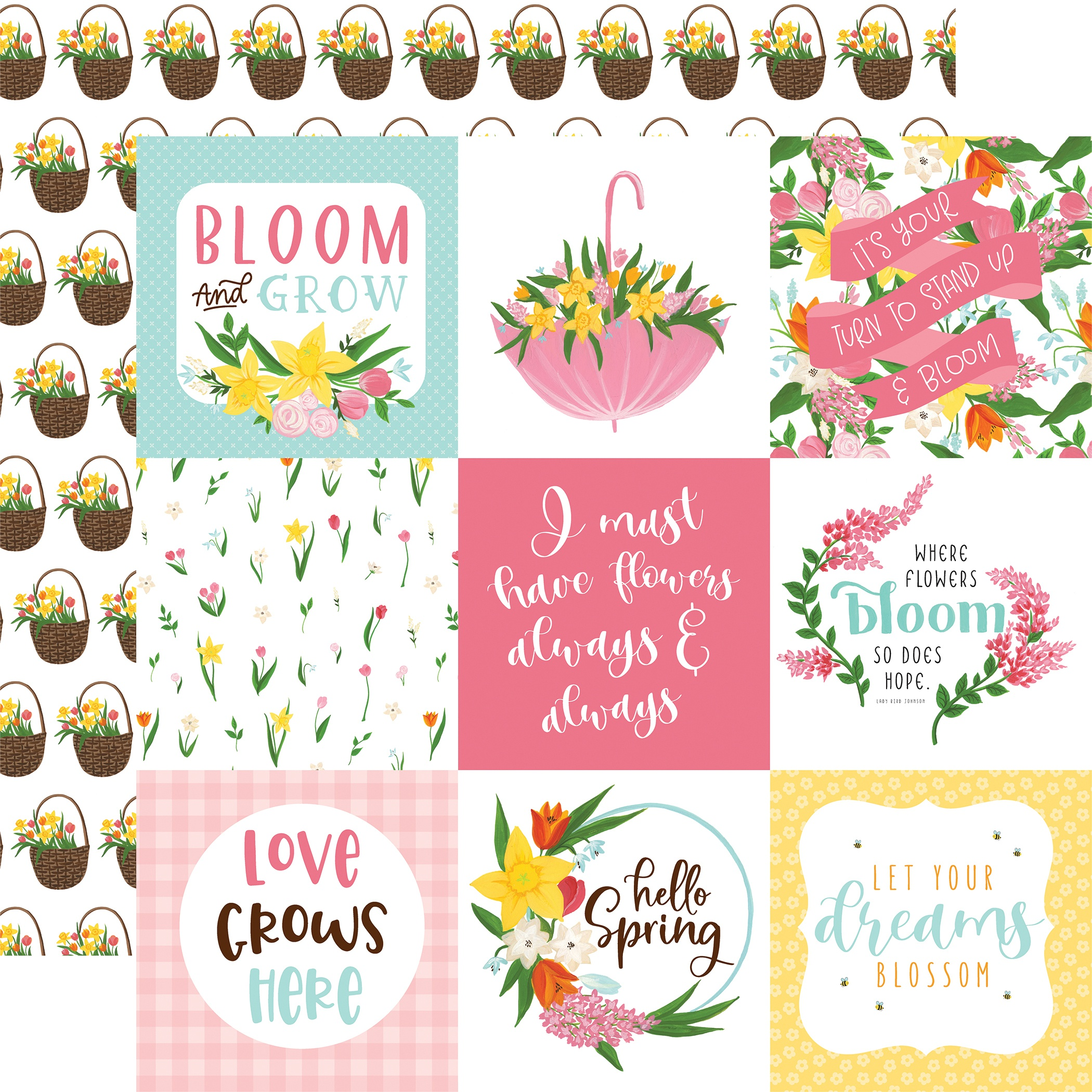 I Love Spring Double-Sided Cardstock 12X12-4X4 Journaling Cards
