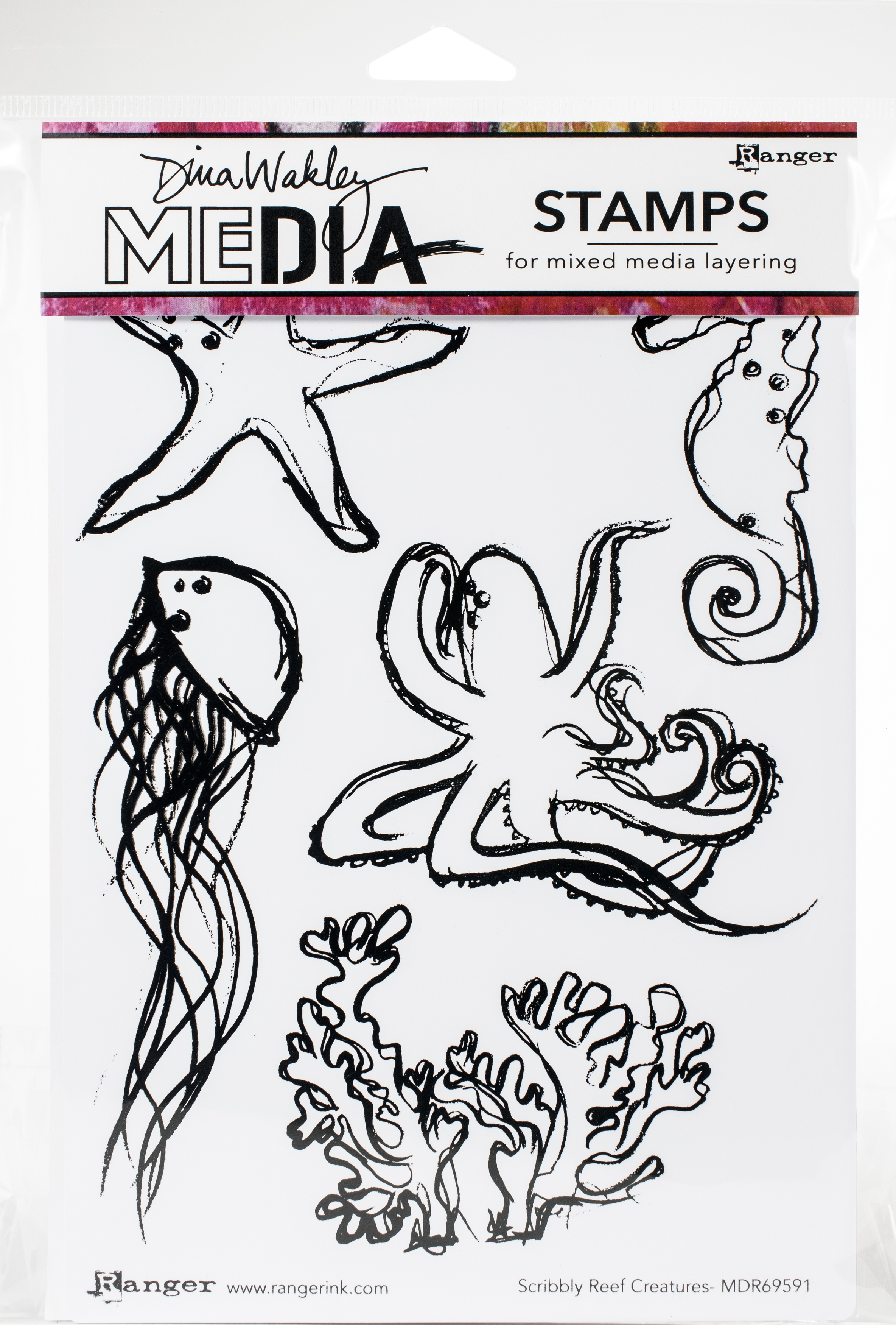 Dina Wakley Media Cling Stamps 6X9-Scribbly Reef Creatures