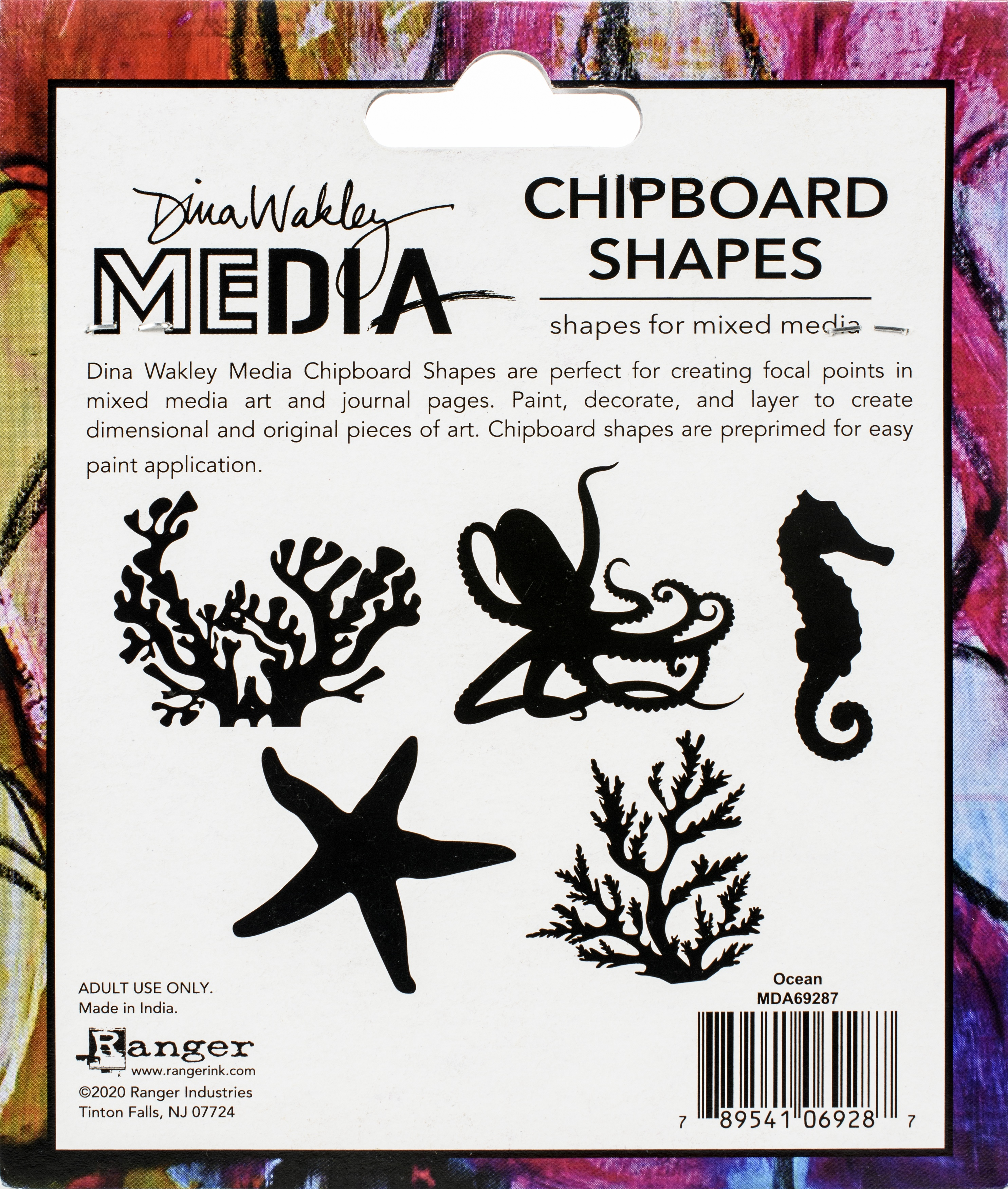 Dina Wakley Media Chipboard Shapes-Ocean