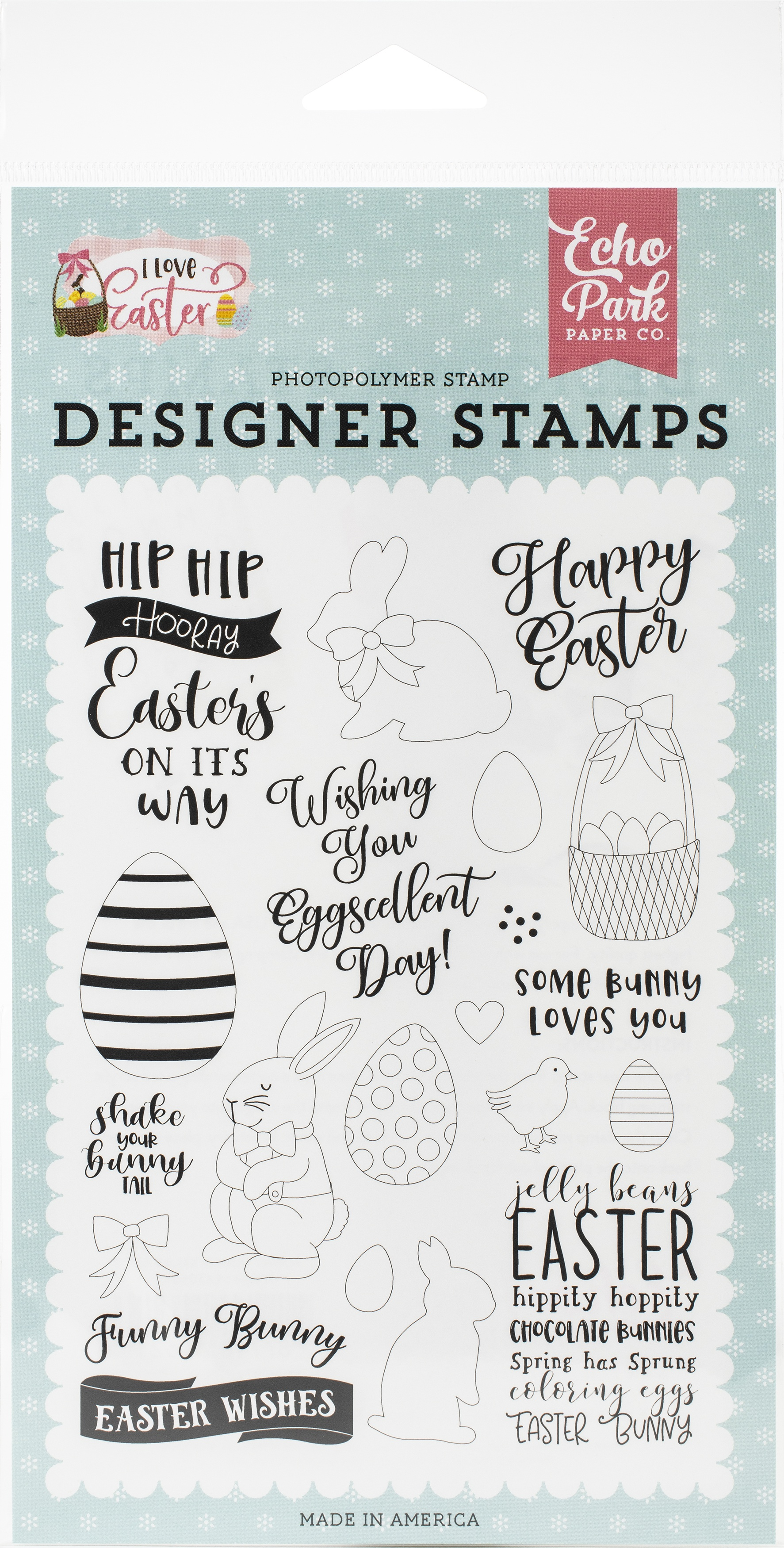 Echo Park Stamps-Funny Bunny, I Love Easter